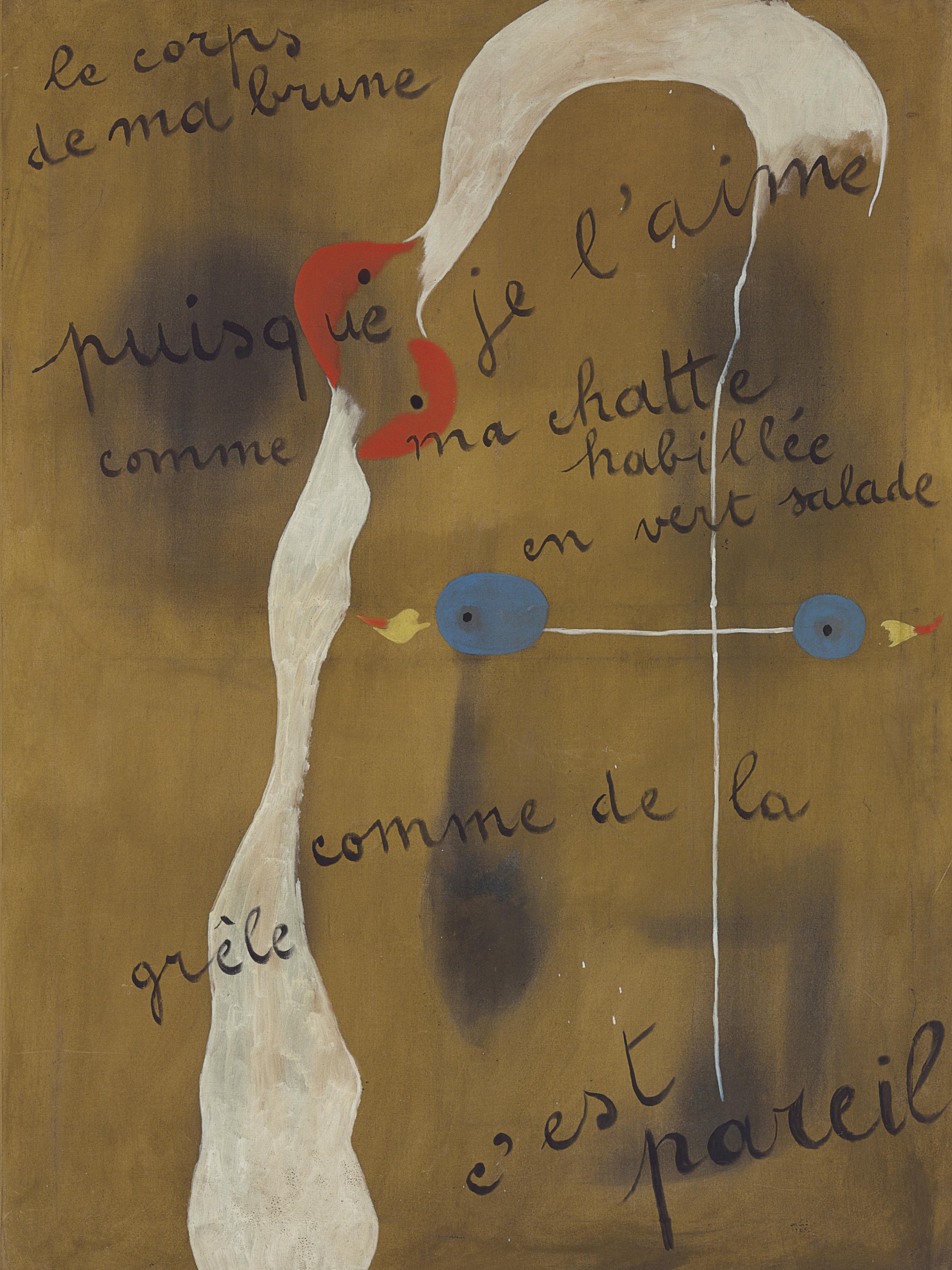 """Painting-Poem (""""le corps de ma brune puisque je l'aime comme ma chatte habillée en vert salade comme de la grêle c'est pareil"""")"""