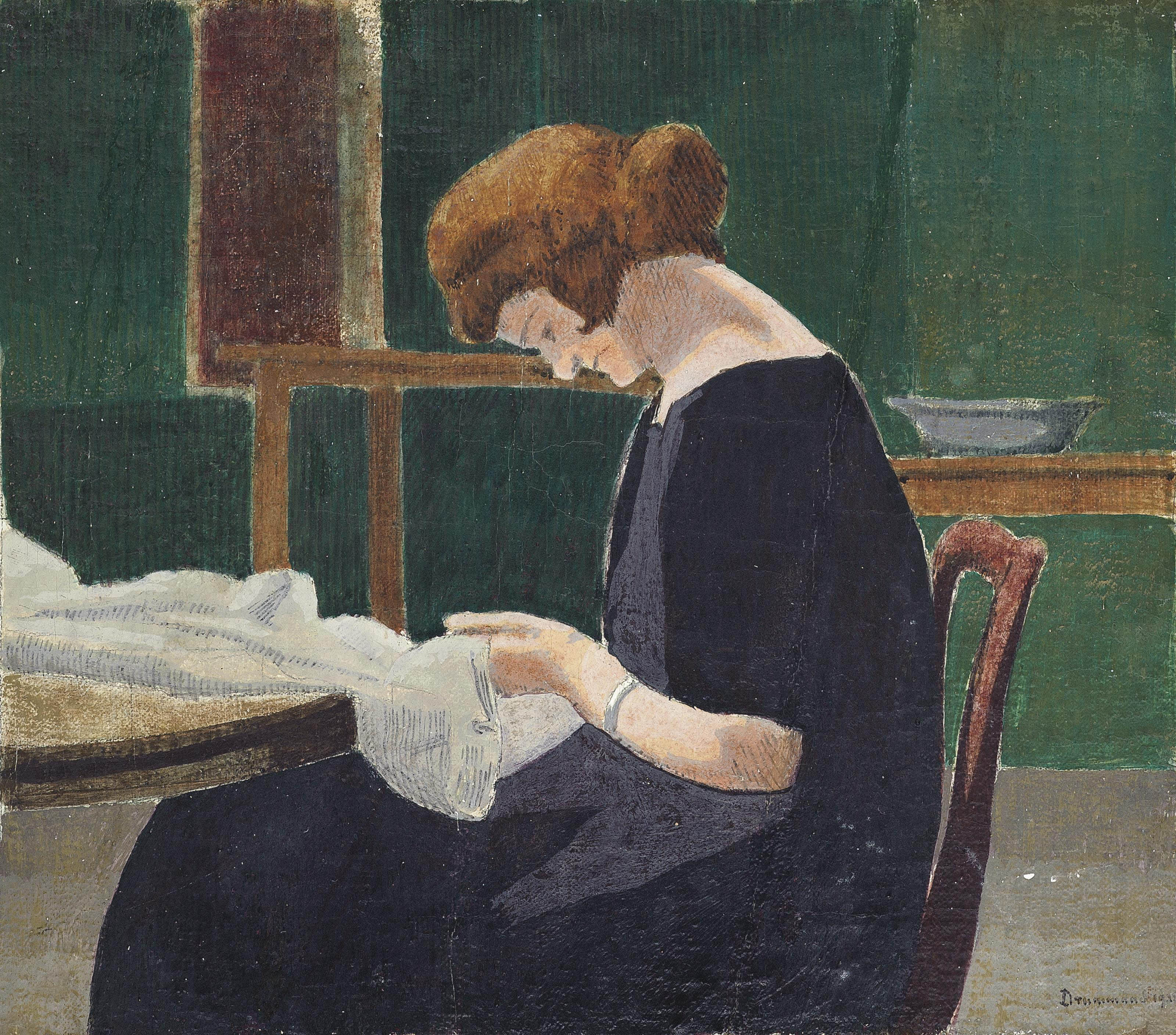 Woman Sewing at a Table