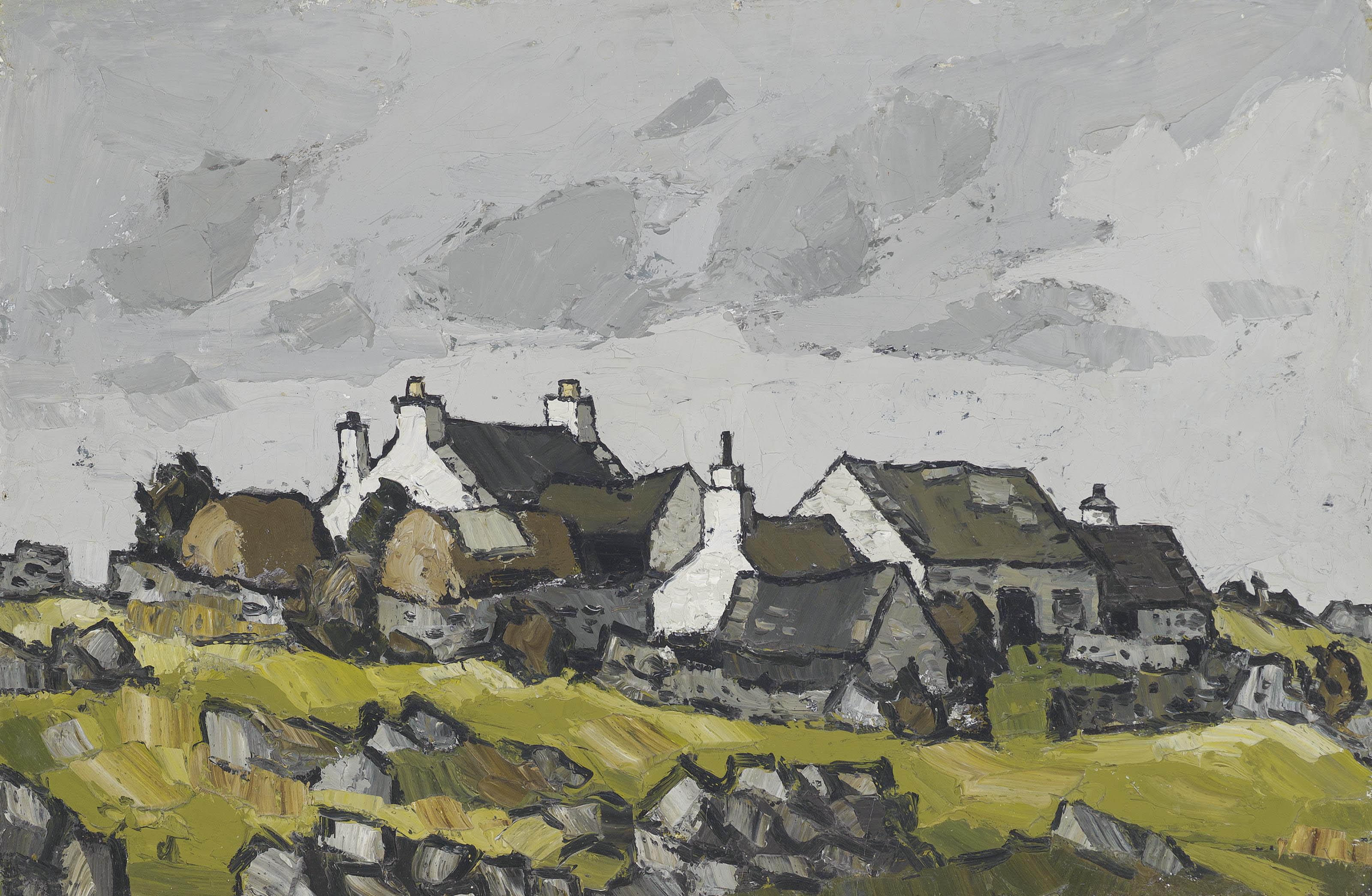 Cottages in a Welsh landscape