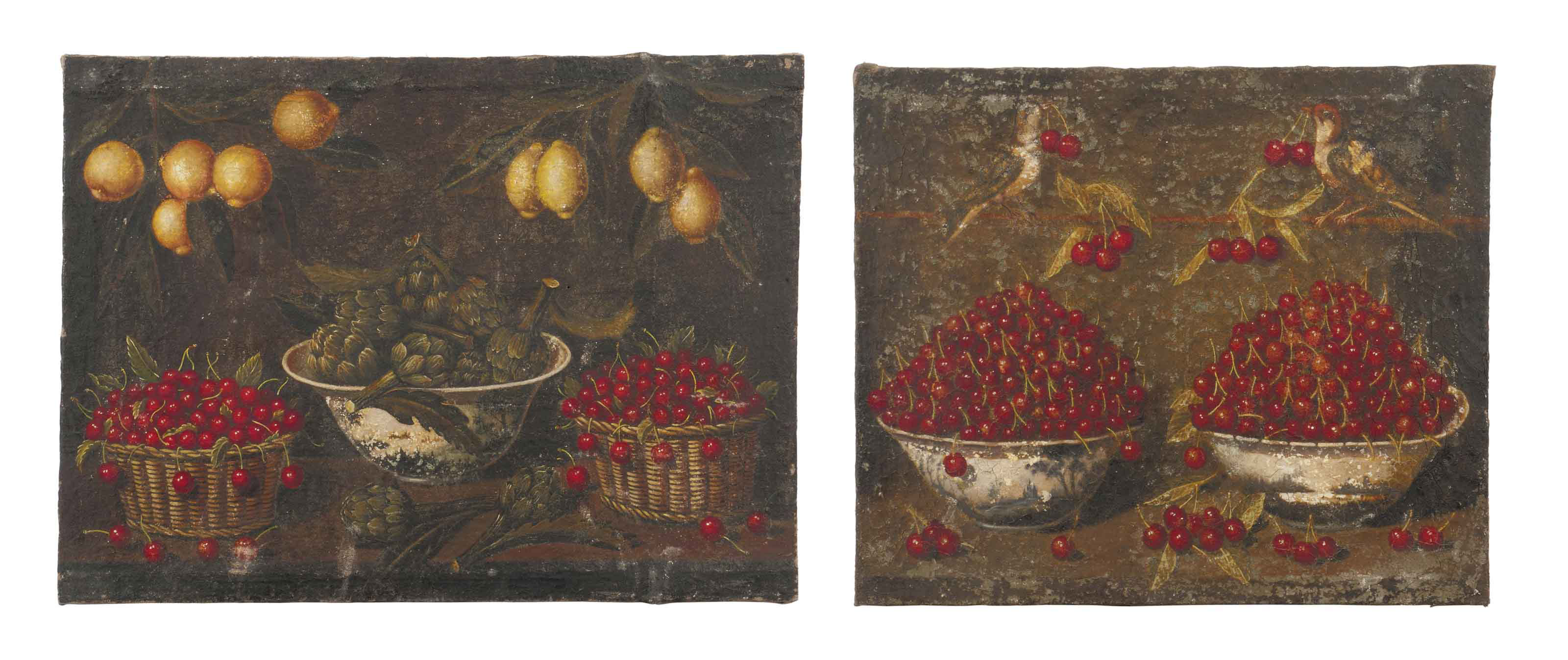 Artichokes in a blue and white bowl, baskets of cherries, lemon trees, on a ledge; and Cherries in blue and white bowls with birds on a stone ledge