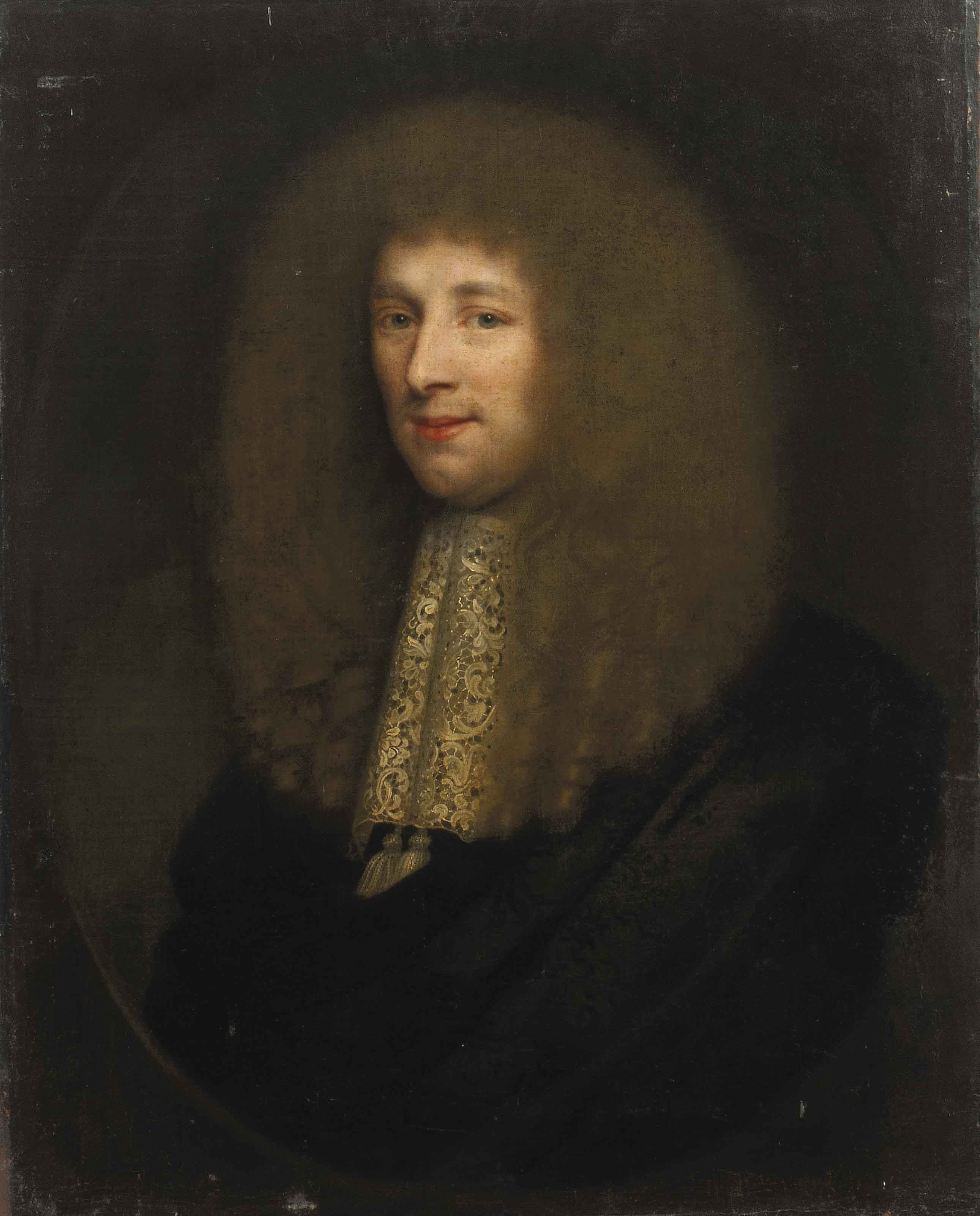Portrait of gentleman, bust-length, in black robes with a lace jabot, in a sculpted oval