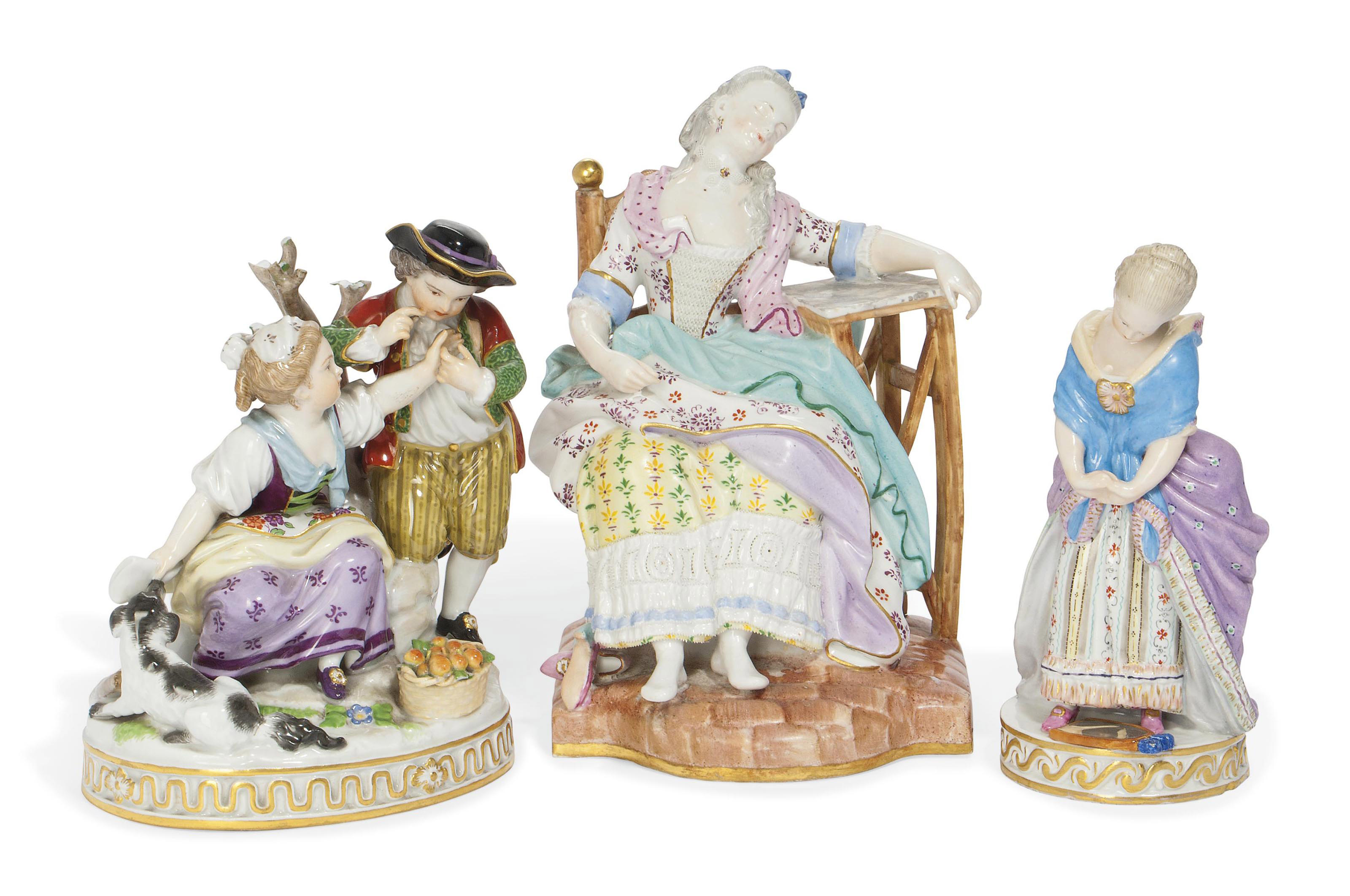 TWO MEISSEN FIGURES AND A FIGU