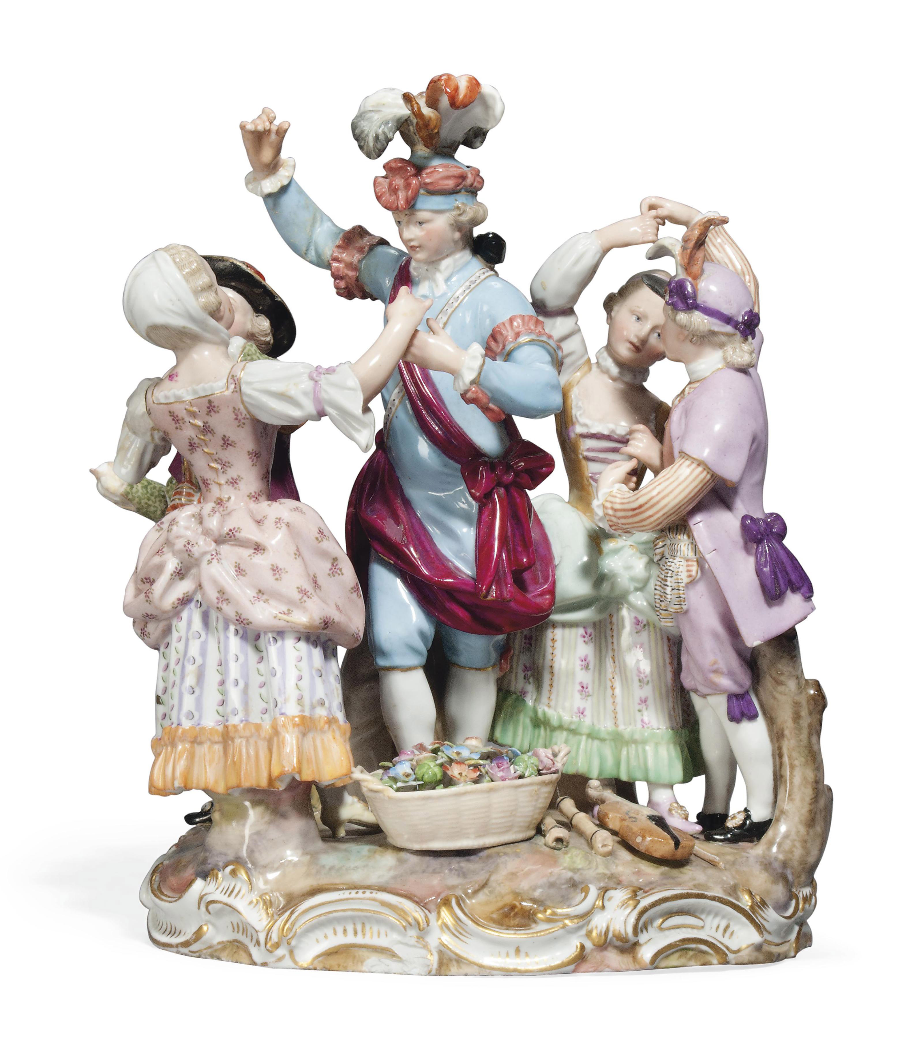 A MEISSEN GROUP OF THE TOWN CR