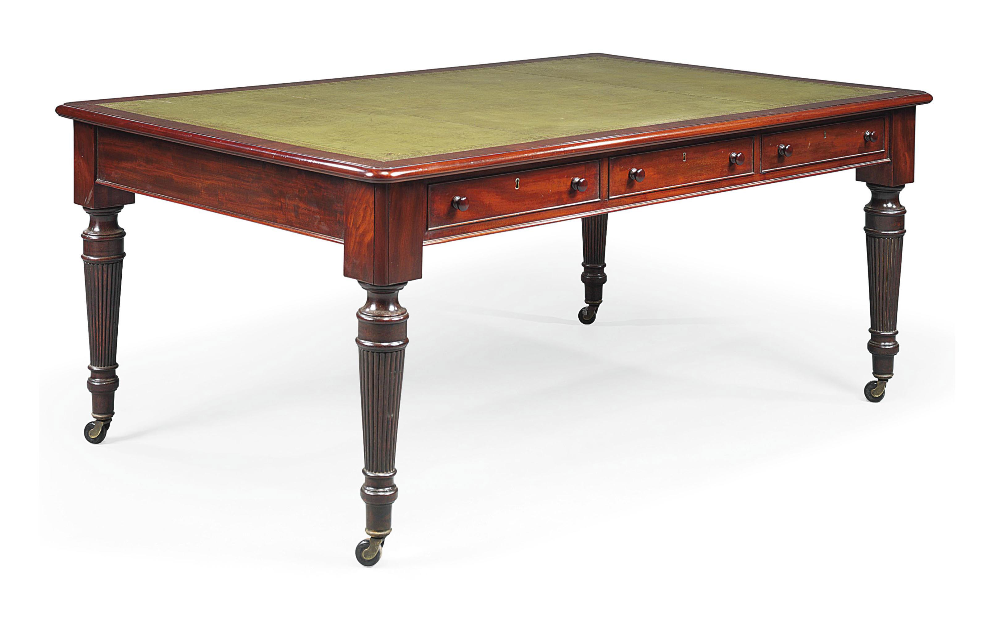 A MAHOGANY LIBRARY TABLE