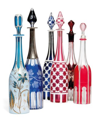 SIX BOHEMIAN GLASS DECANTERS A