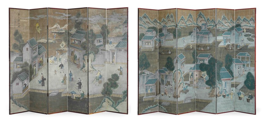 A PAIR OF CHINESE SIX-PANEL FO