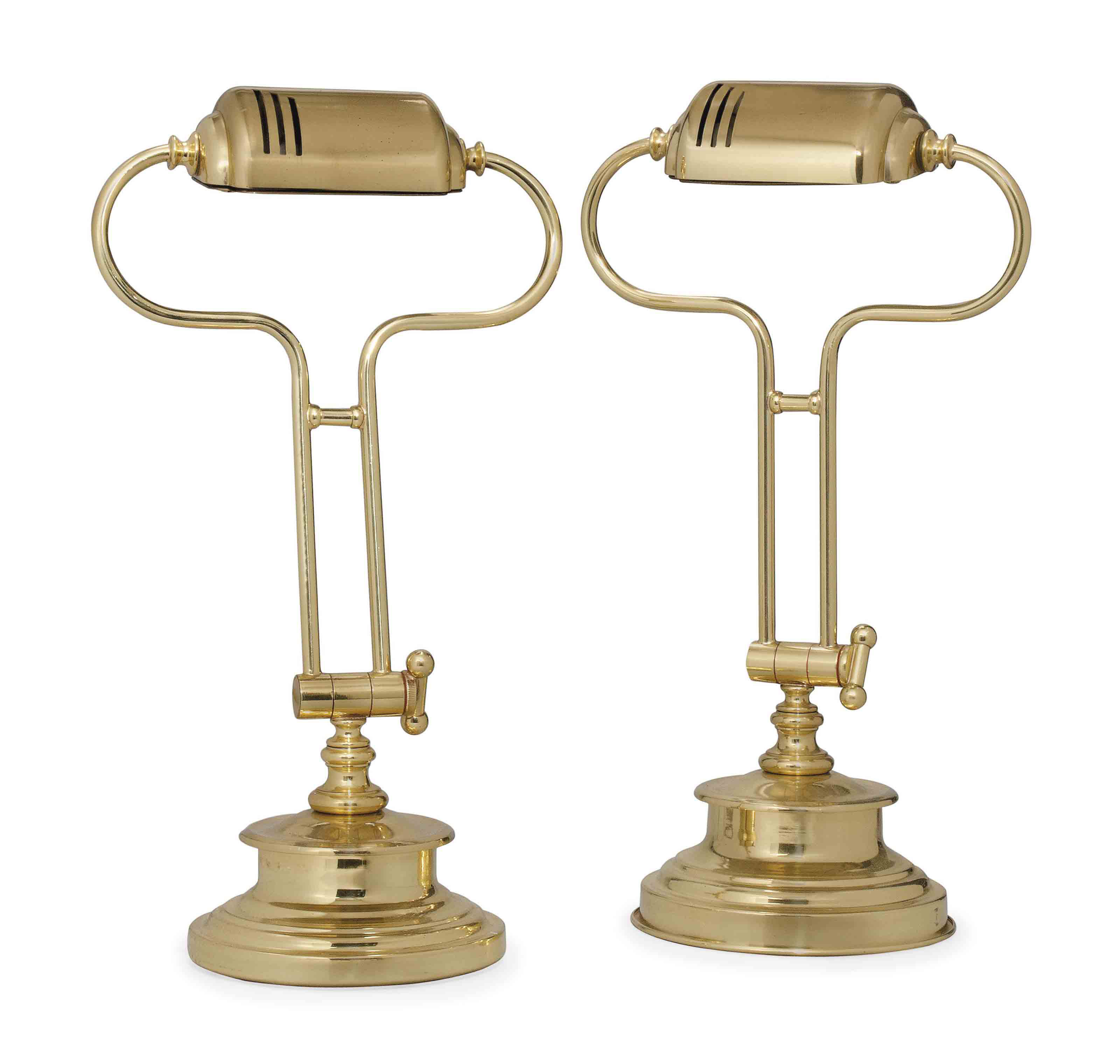 A PAIR OF BRASS DESK LAMPS