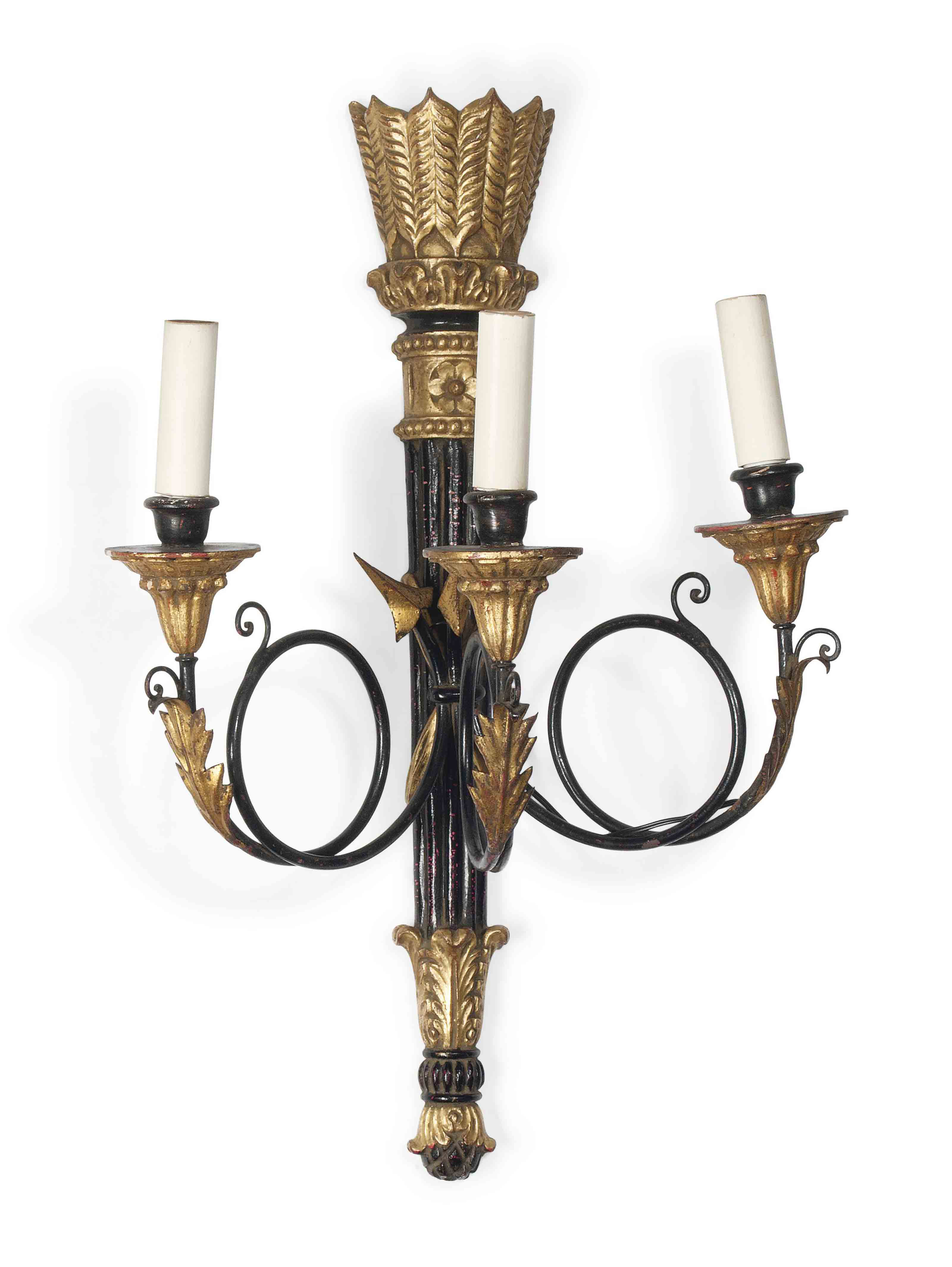A PAIR OF PAINTED, GILTWOOD AN