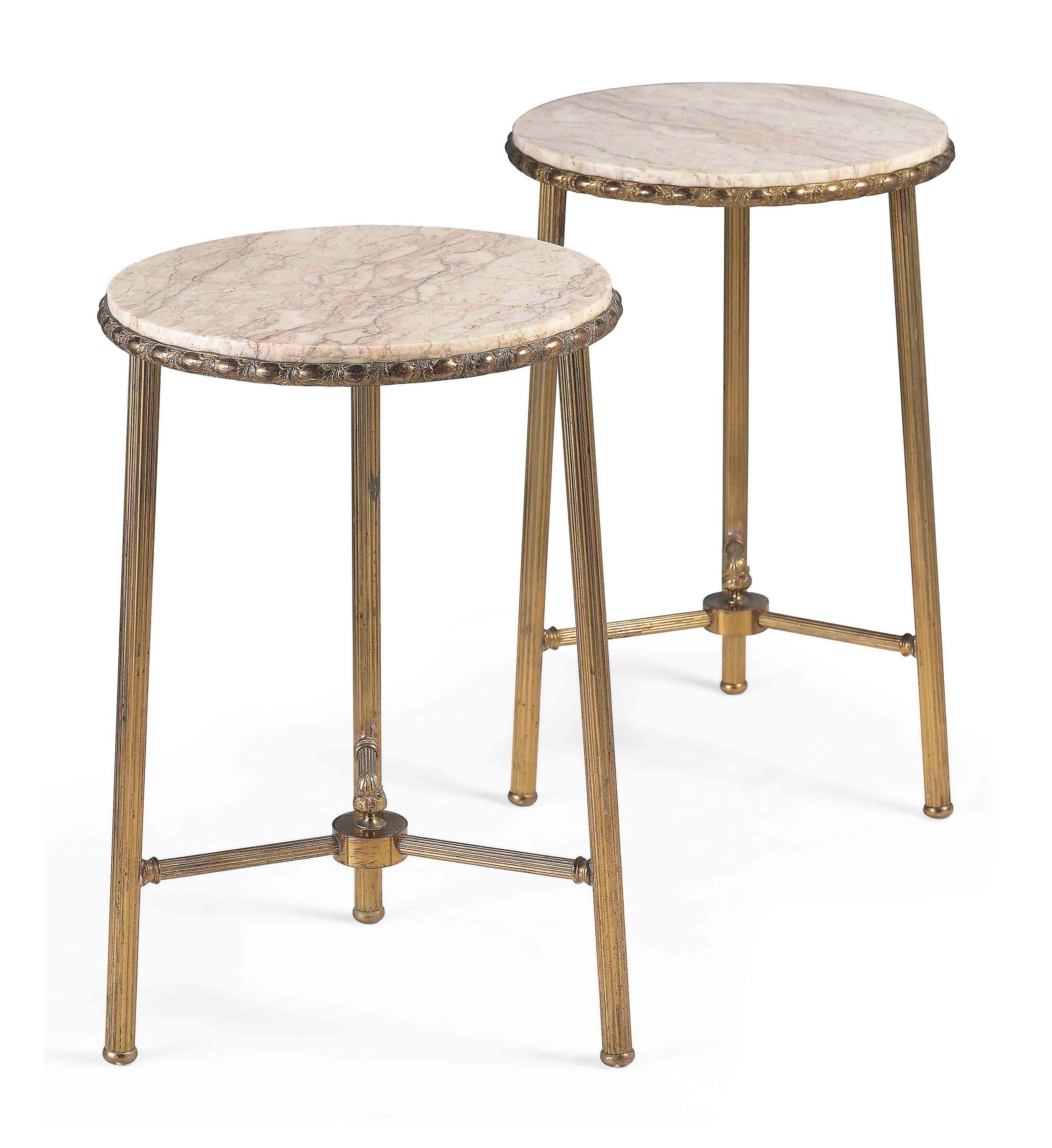 A PAIR OF BRASS LOW TABLES