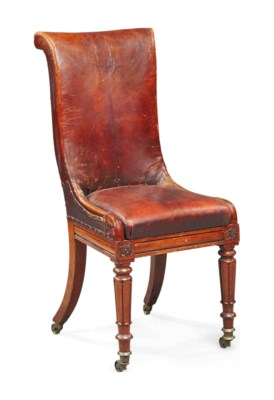 A WILLIAM IV MAHOGANY AND LEAT