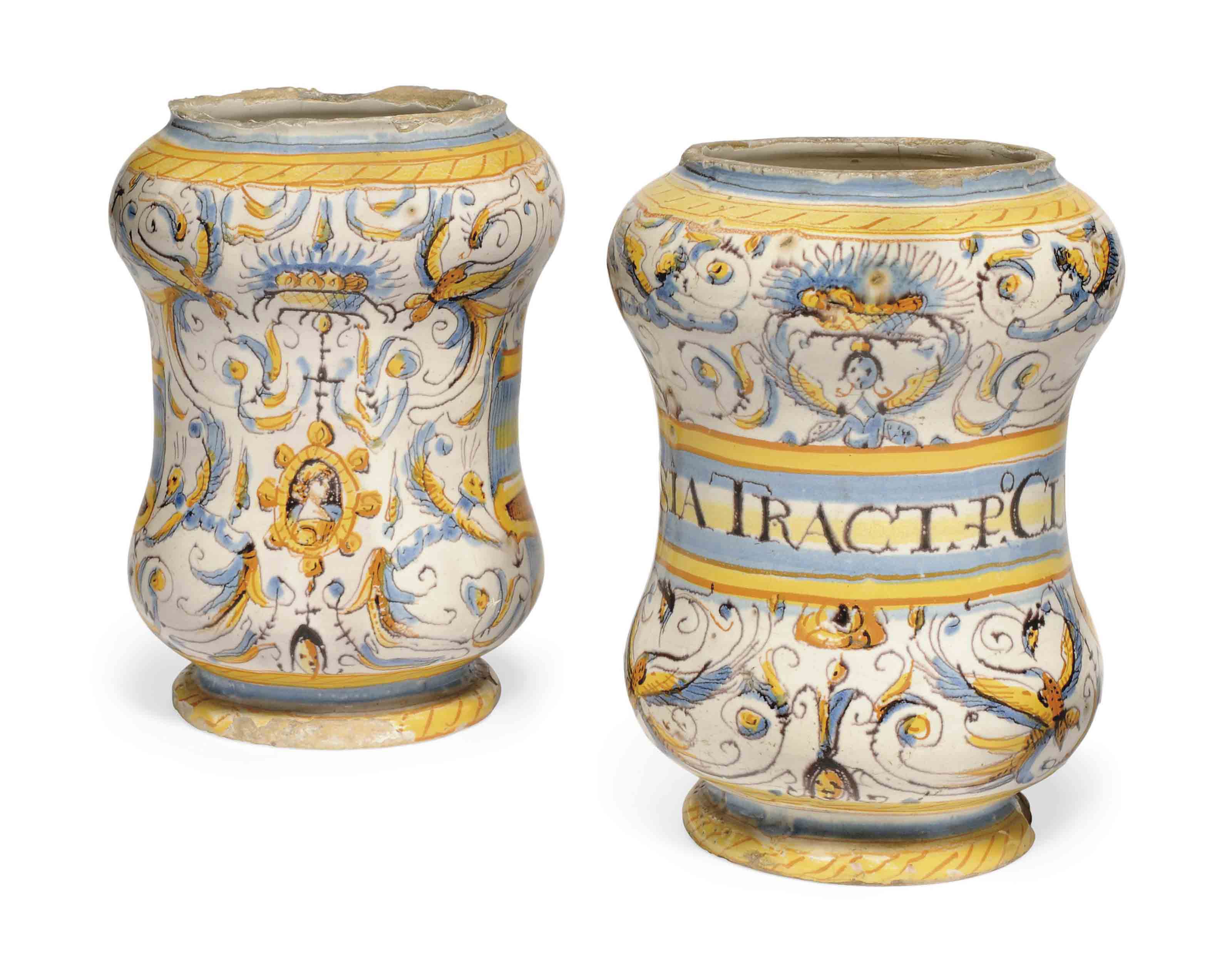 A PAIR OF ITALIAN MAIOLICA ALB