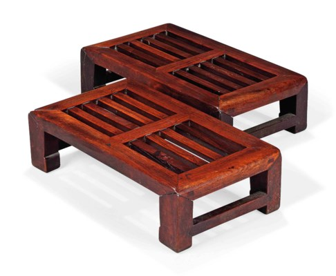 A PAIR OF CHINESE ROSEWOOD KAN