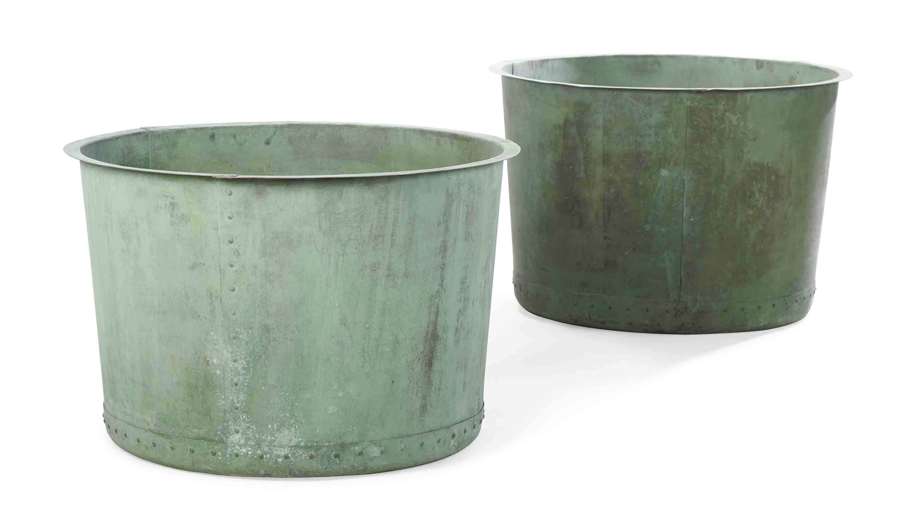 TWO LARGE COPPER VATS