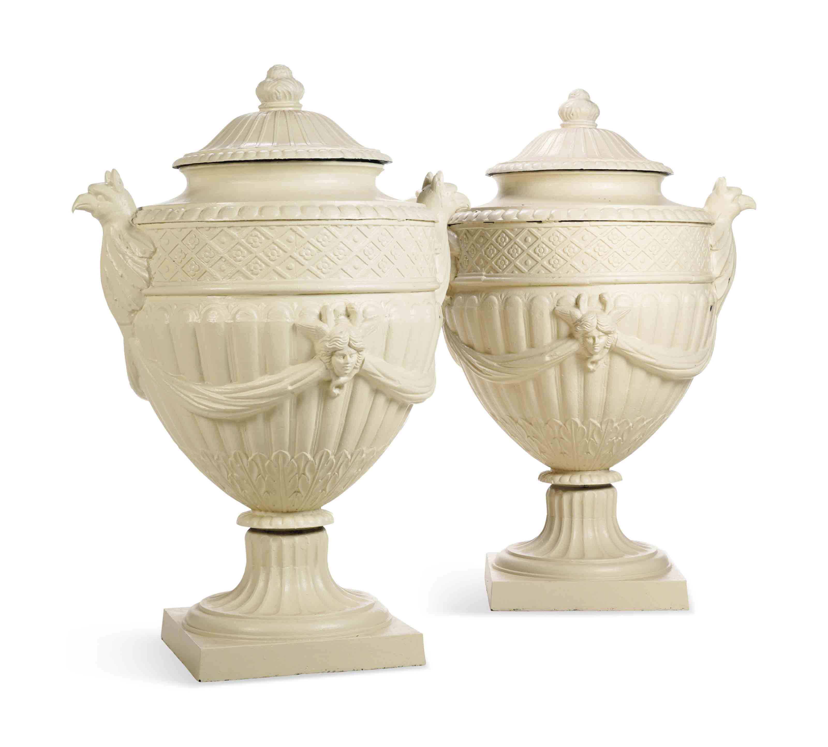 A PAIR OF LARGE PAINTED CAST-I