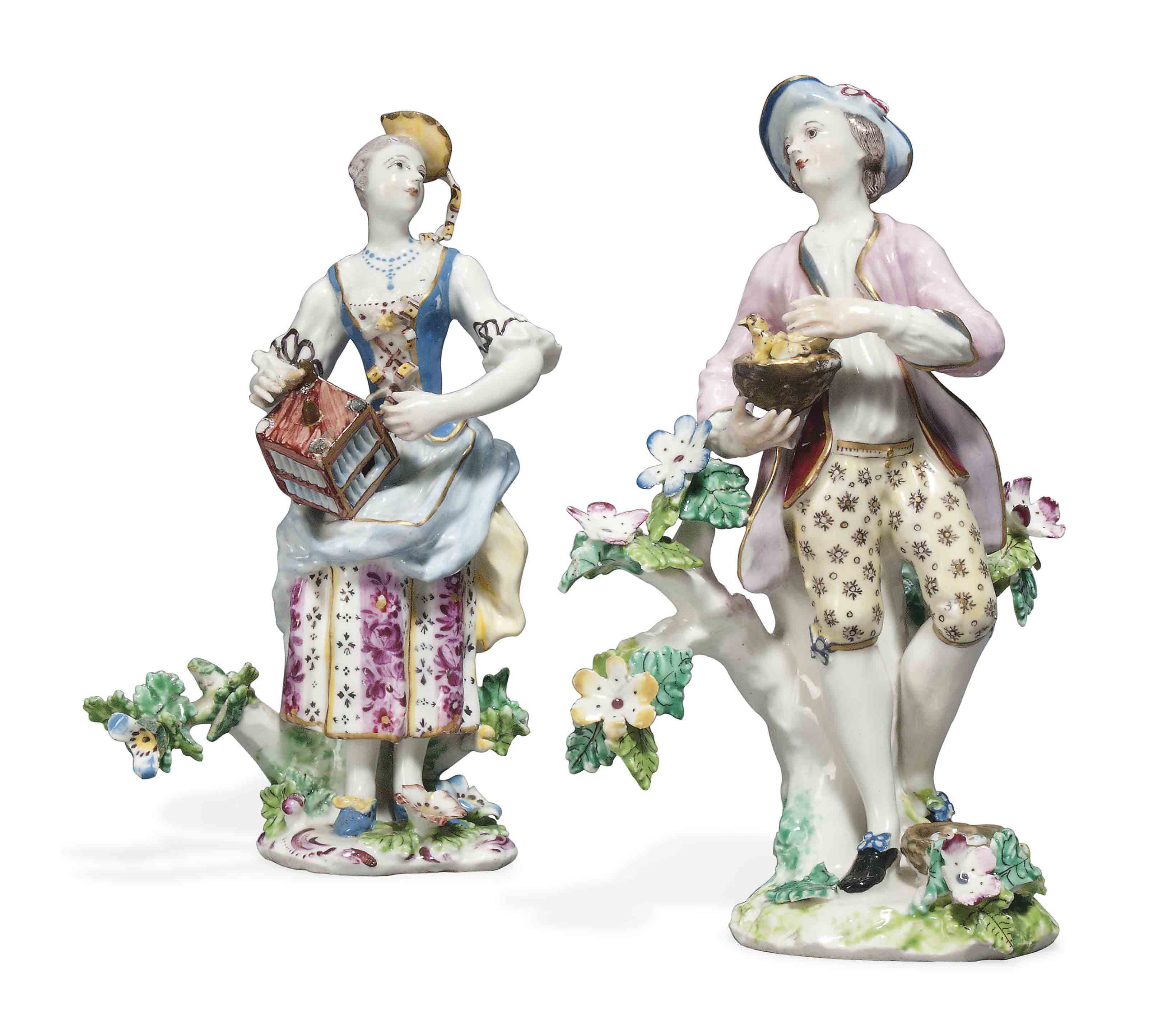 TWO BOW PORCELAIN FIGURES OF A