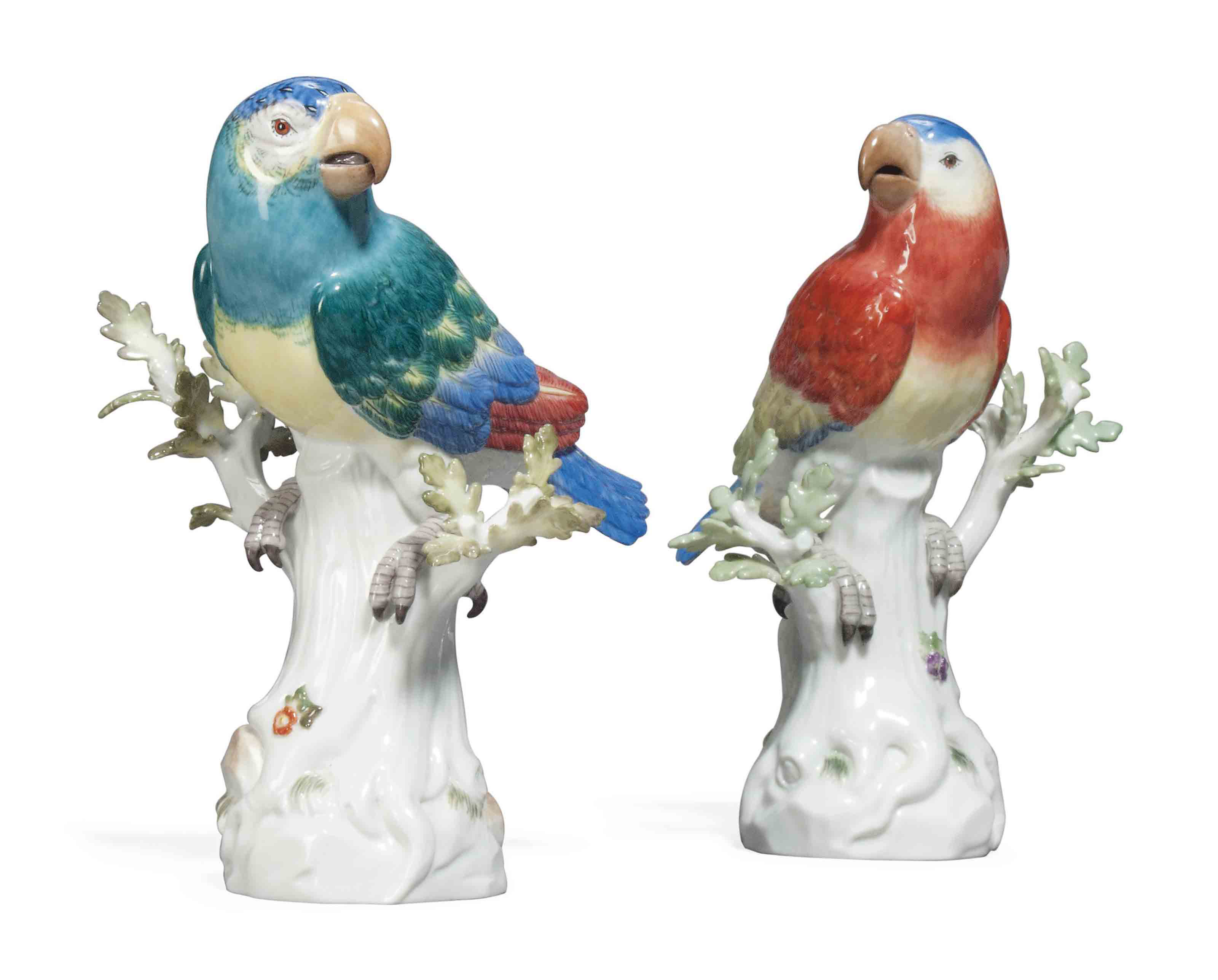 A PAIR OF MEISSEN MODELS OF PA