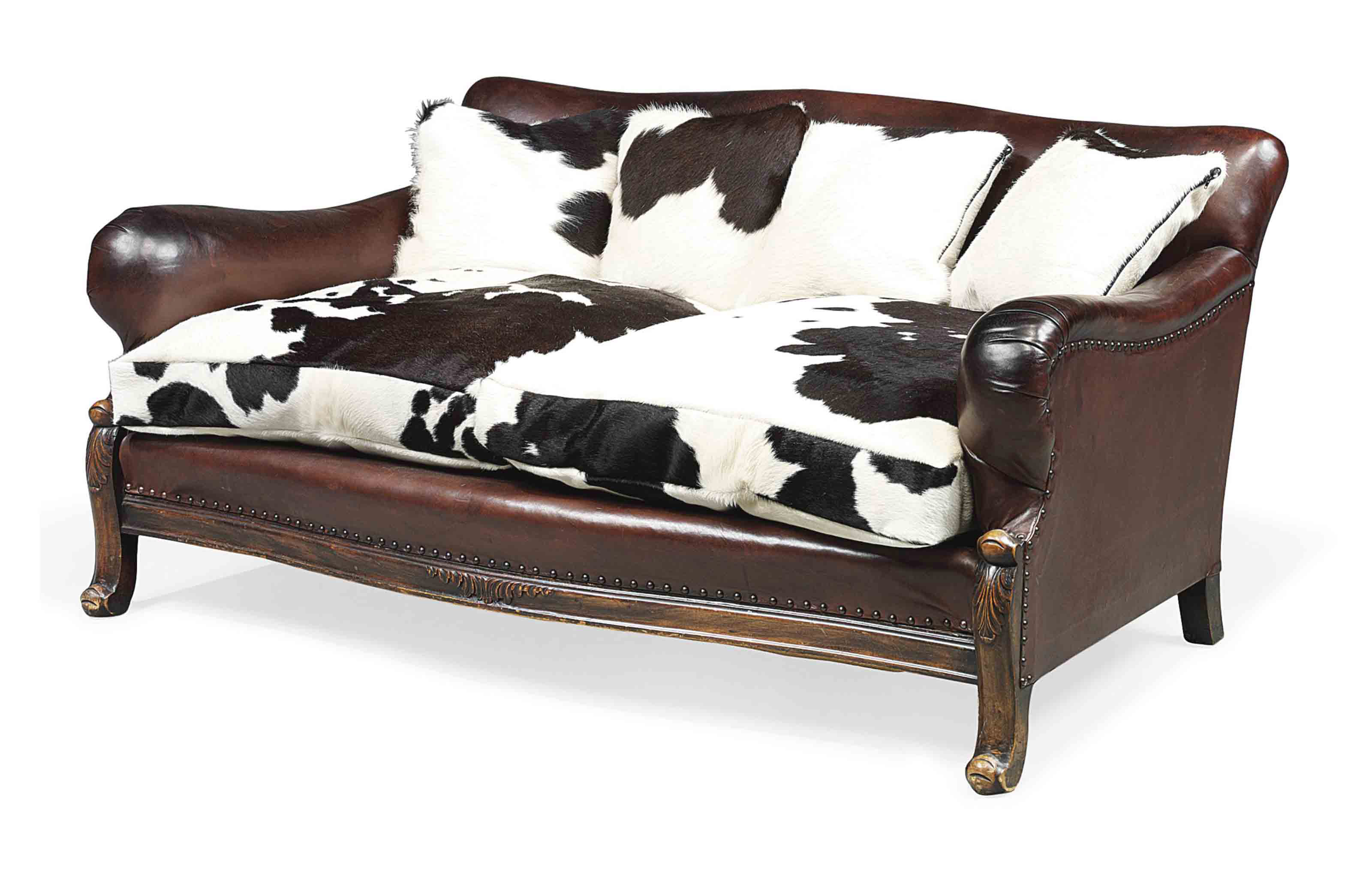 A LEATHER UPHOLSTERED WALNUT S