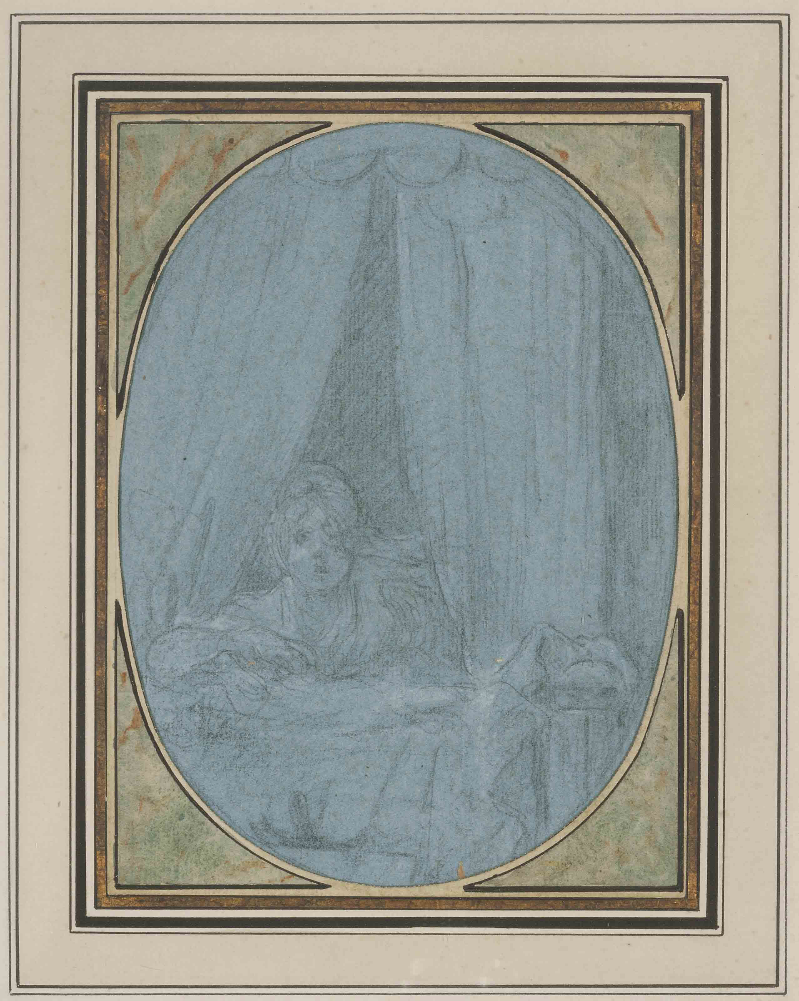 A young woman looking through the curtains of a bed
