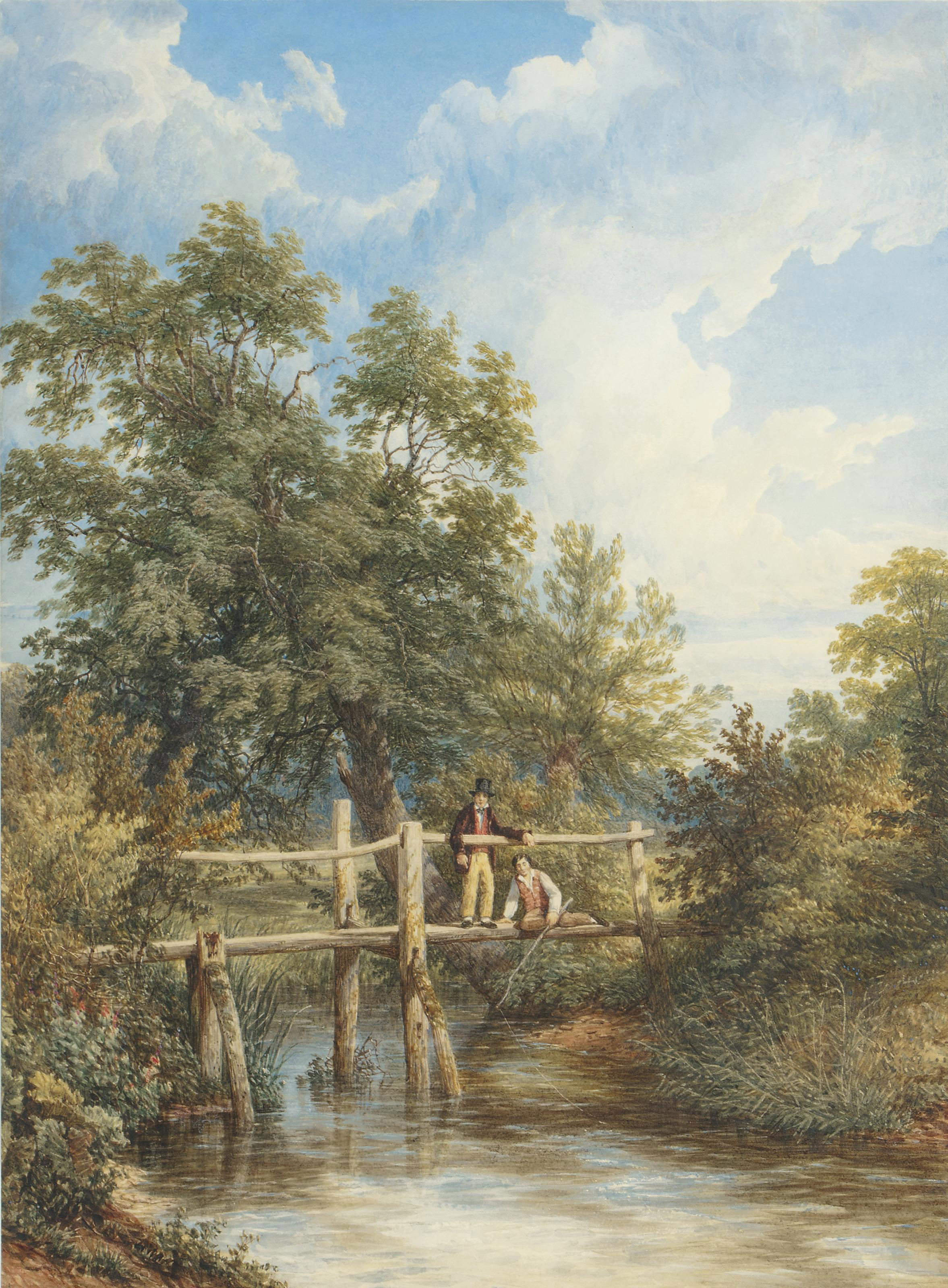 Two boys fishing from a wooden bridge