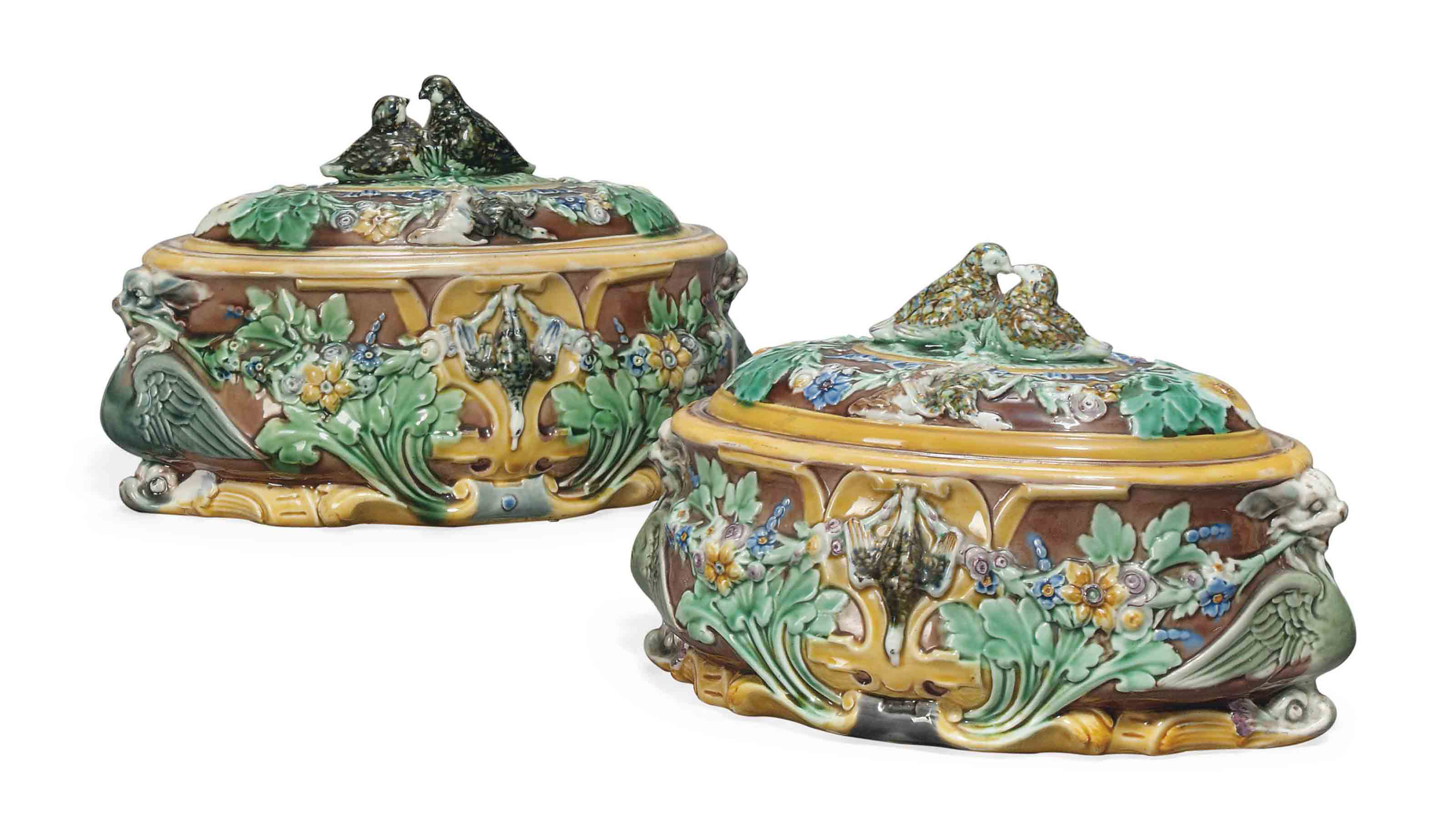 TWO WEDGWOOD MAJOLICA GAME-PIE