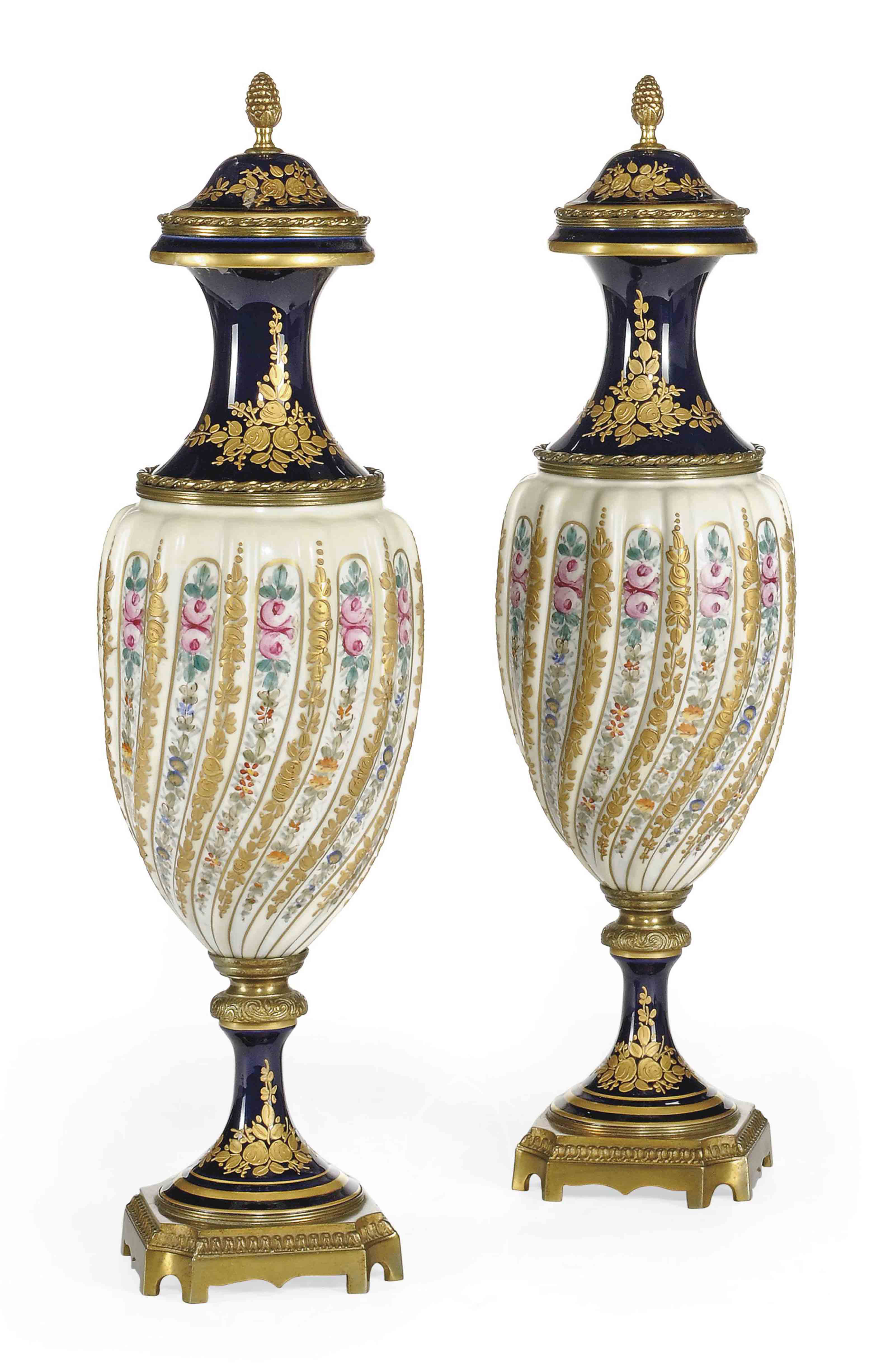 A PAIR OF SEVRES-STYLE GILT-ME