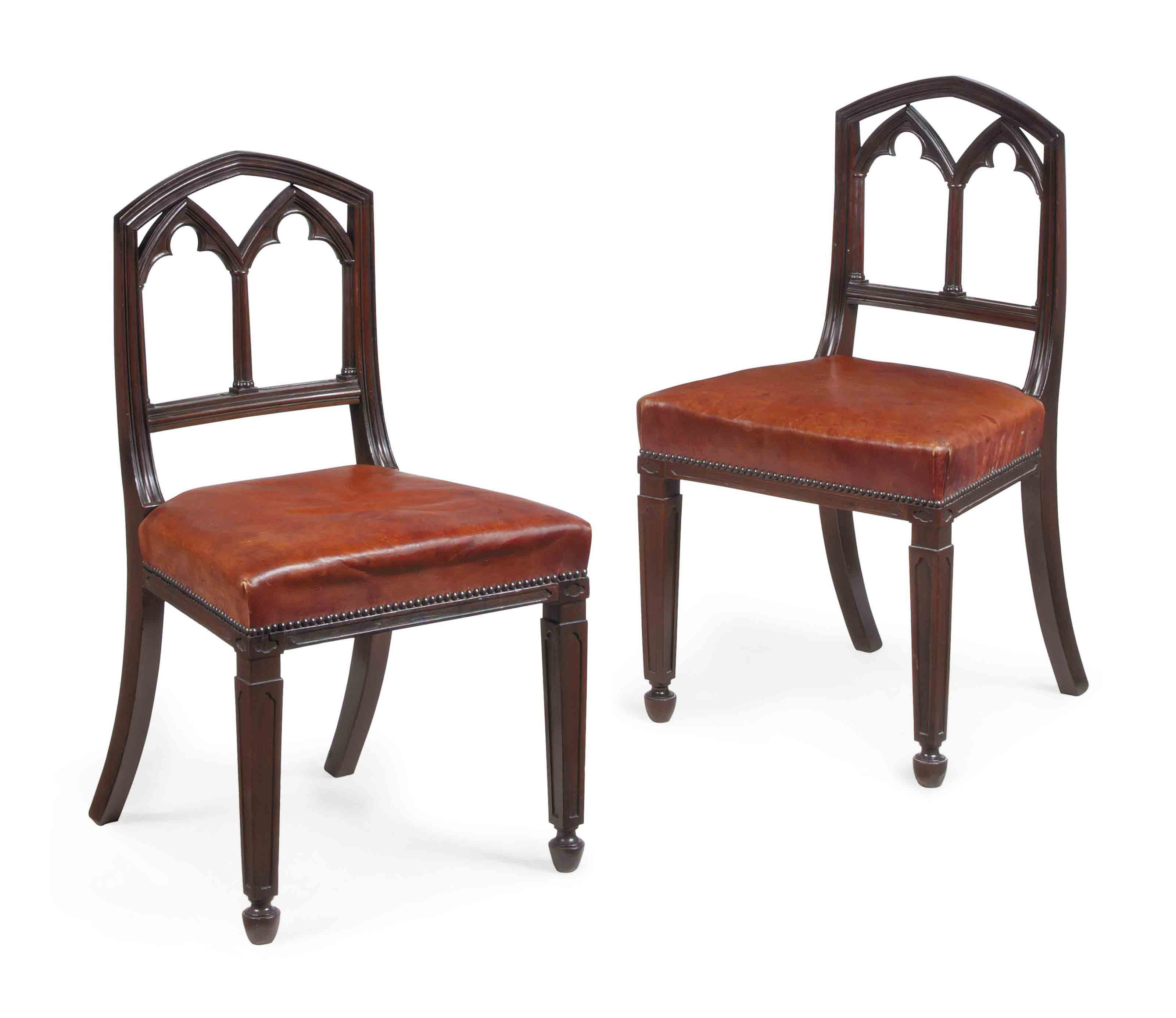 A PAIR OF REGENCY LEATHER-UPHO