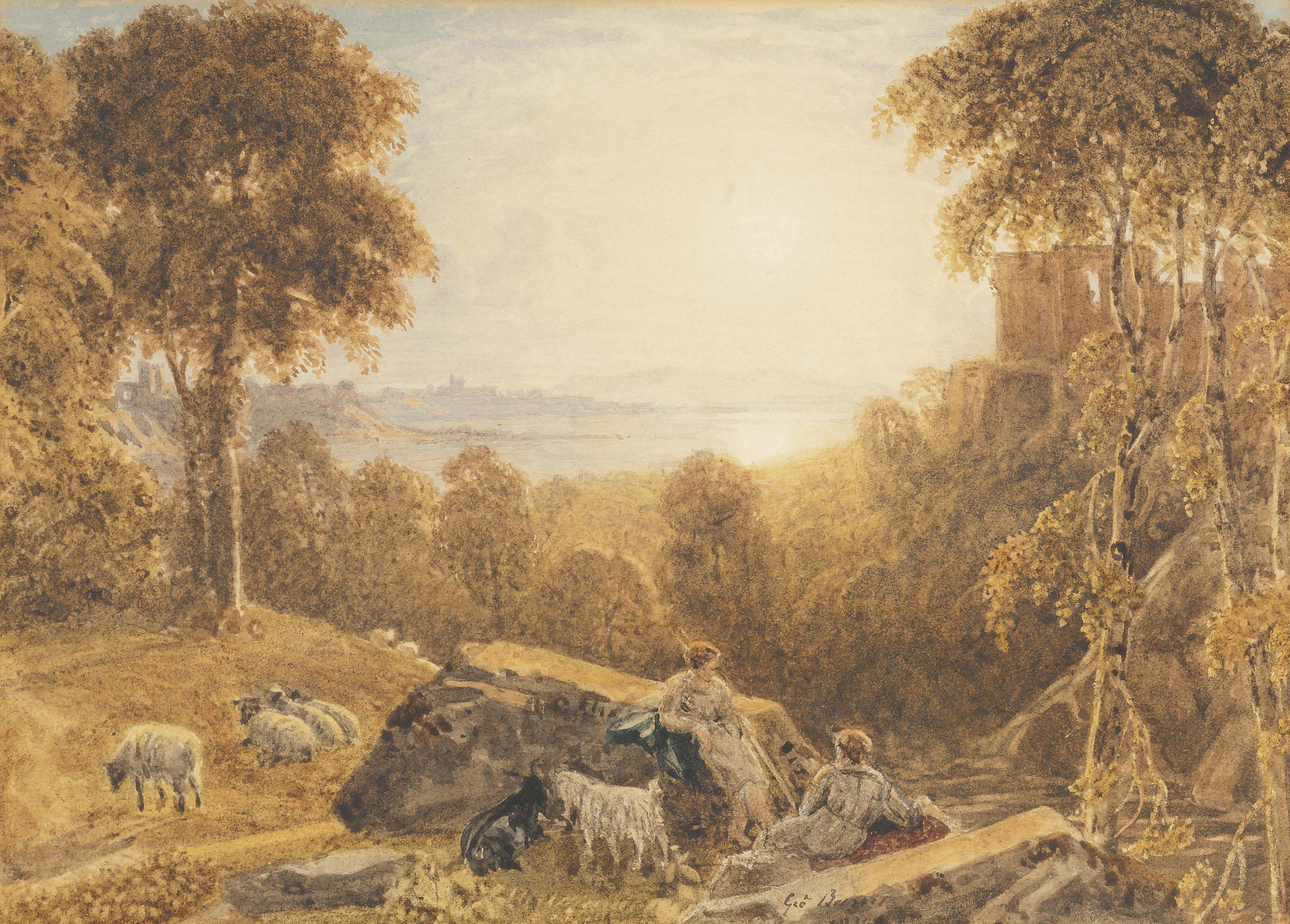 A shepherd and sheperdess with their flock in an Arcadian landscape