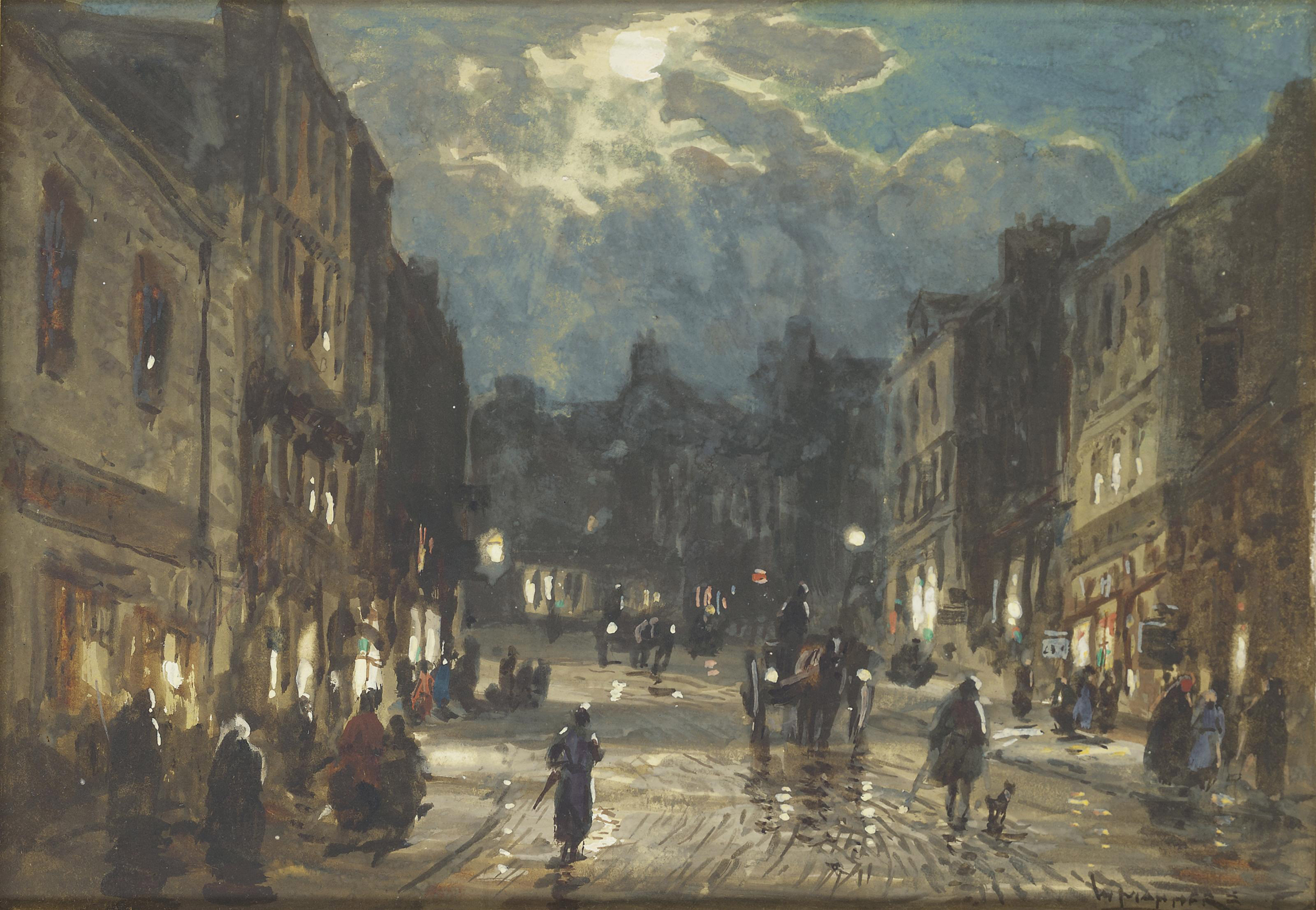 Figures and carriages on a street by moonlight (illustrated); and Figures and a horse-drawn cart on a street by moonlight