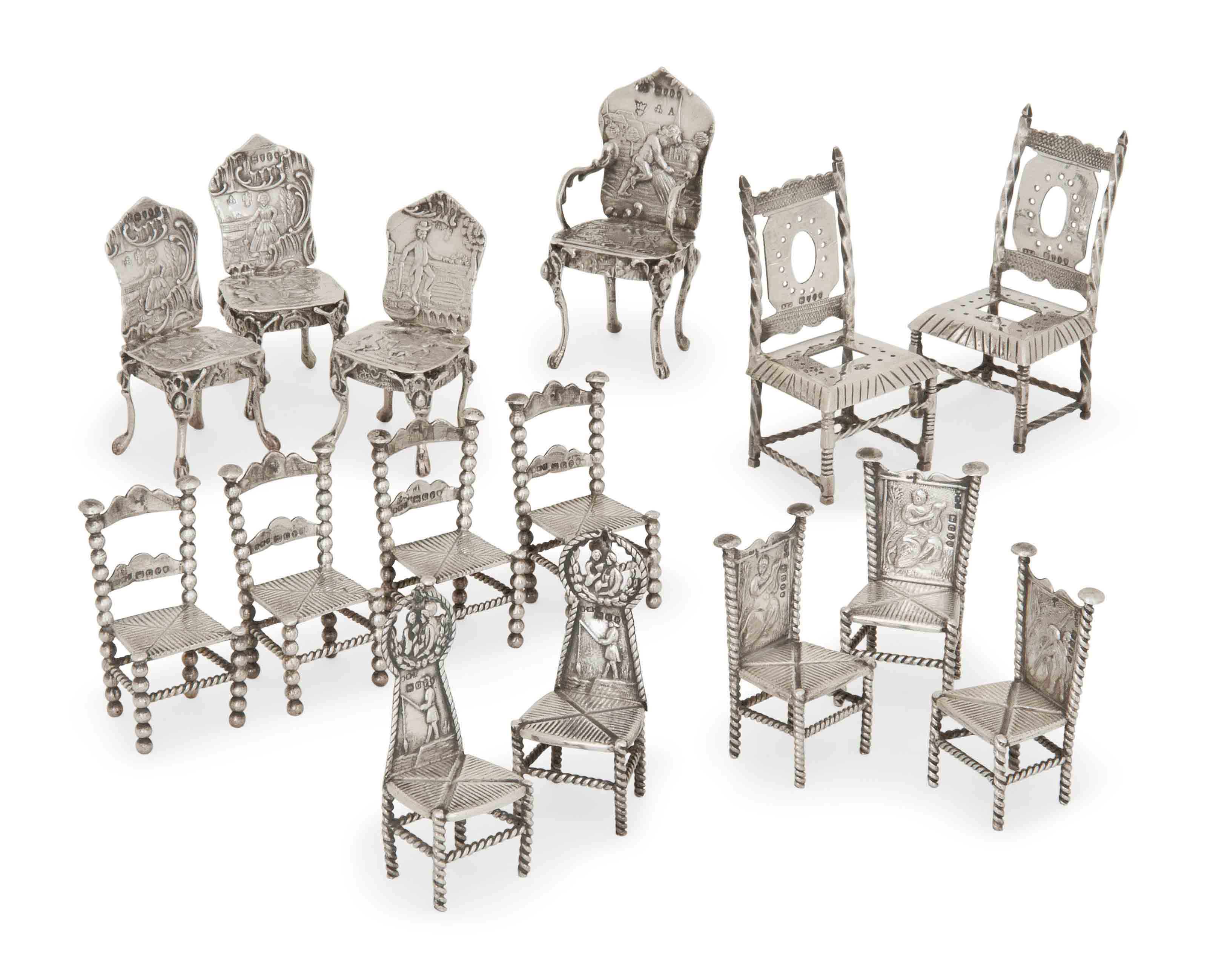A GROUP OF 15 DUTCH SILVER TOY