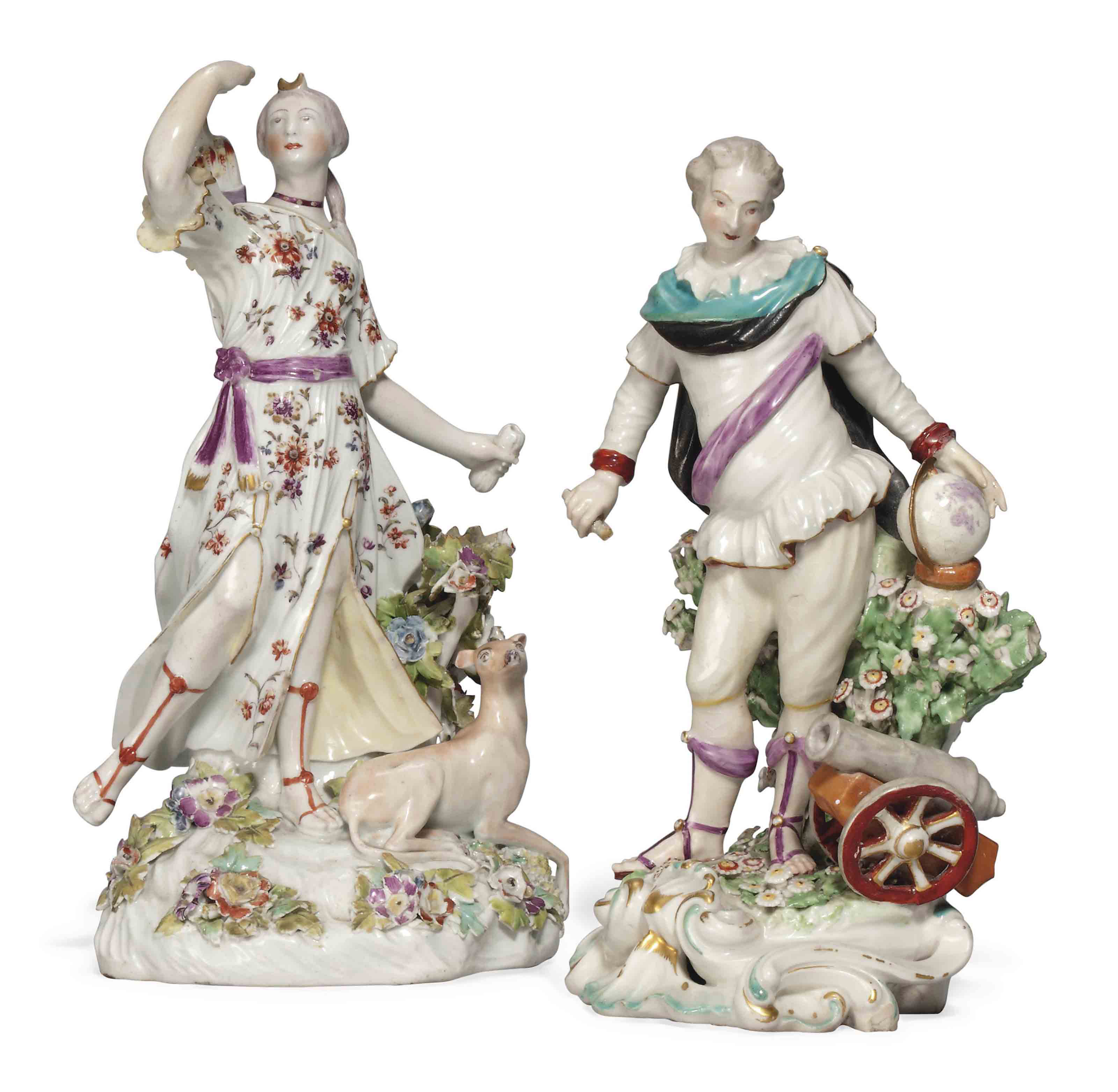A DERBY FIGURE OF DIANA AND A