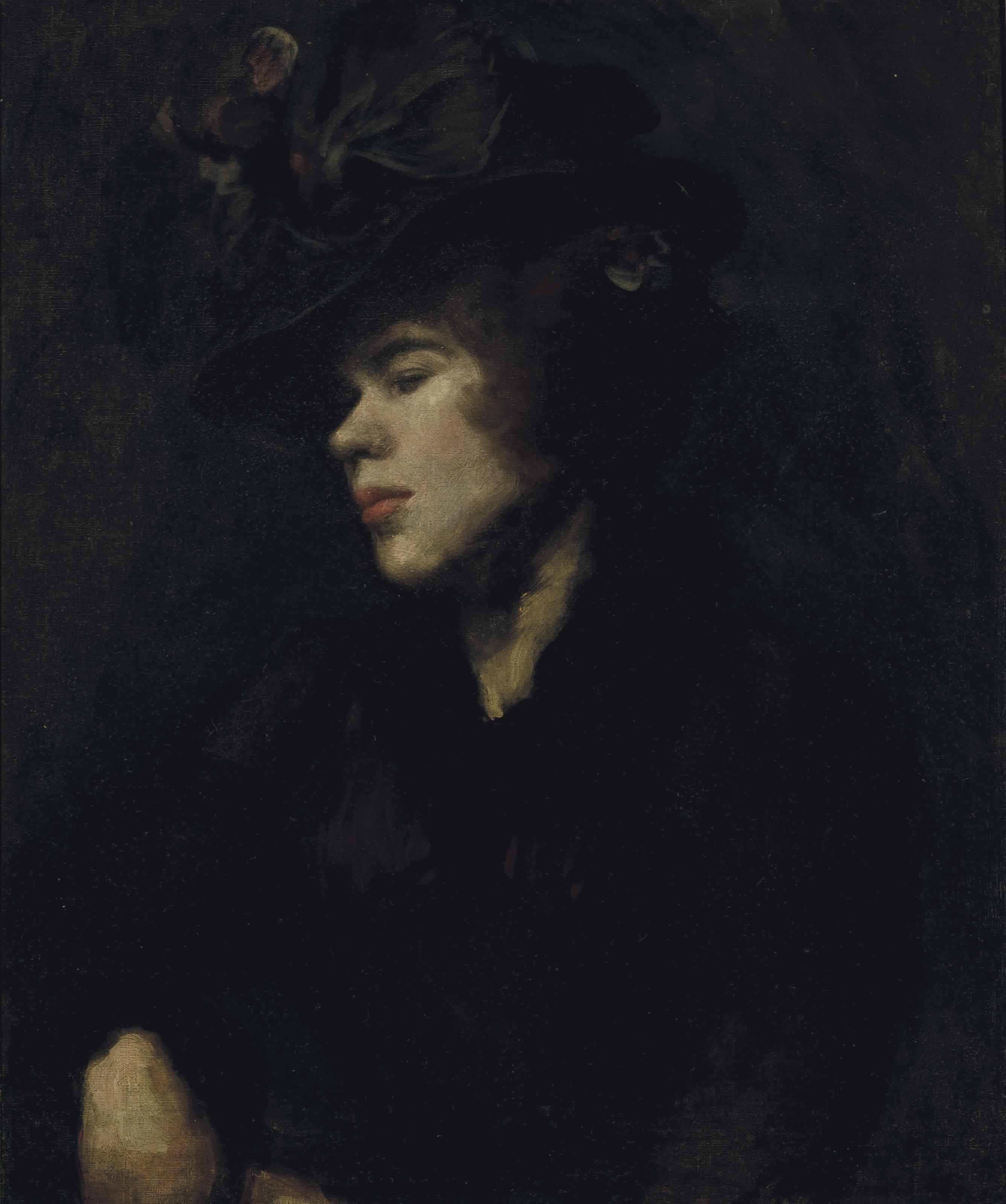 Portrait of Ida Nettleship (1877-1907), half-length, in a burgundy dress and hat