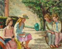 Children in the sunlit garden