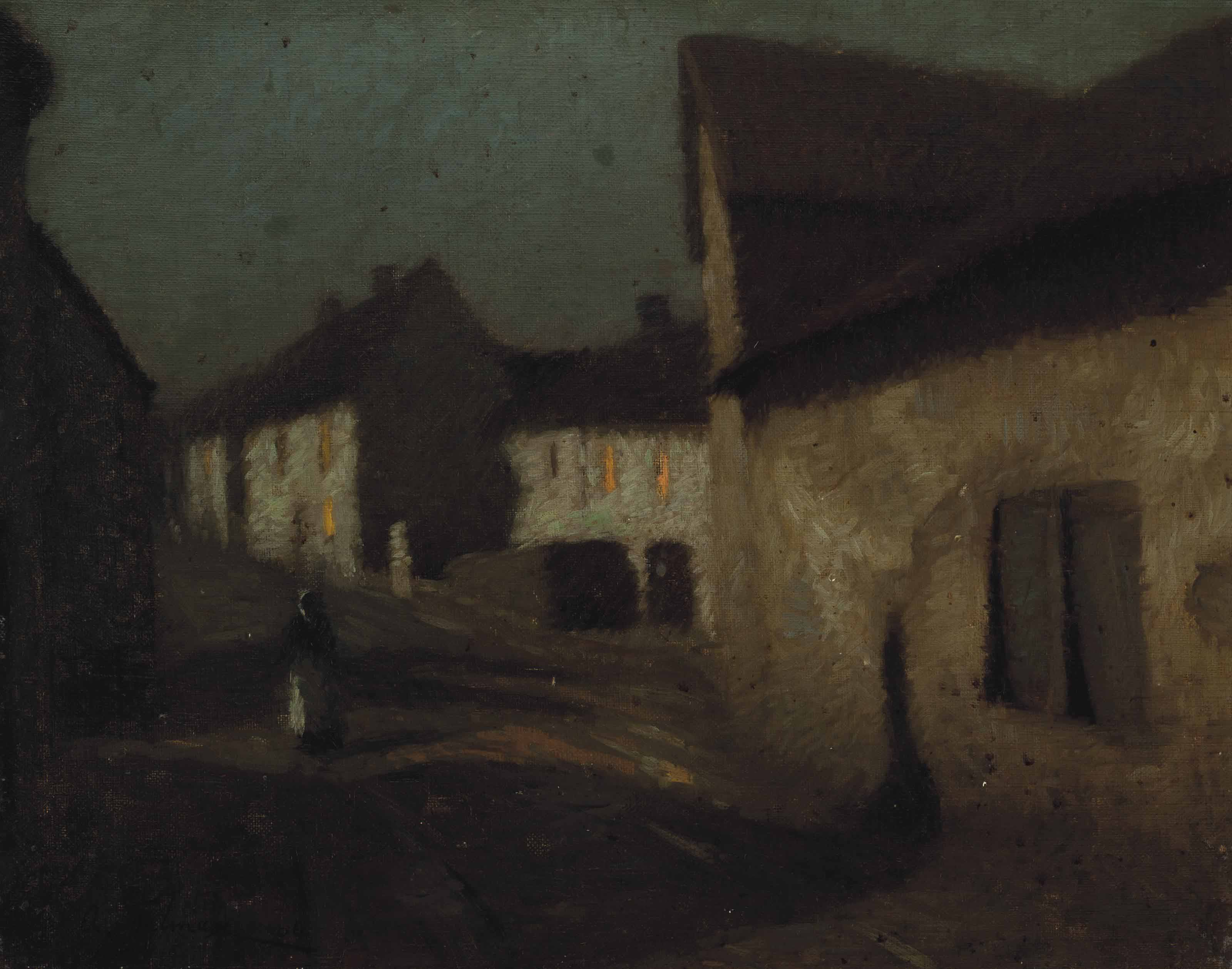 Figure on a village street at dusk