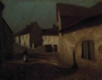 Figure on a village street at dusk