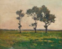 Landscape with trees, cattle grazing beyond