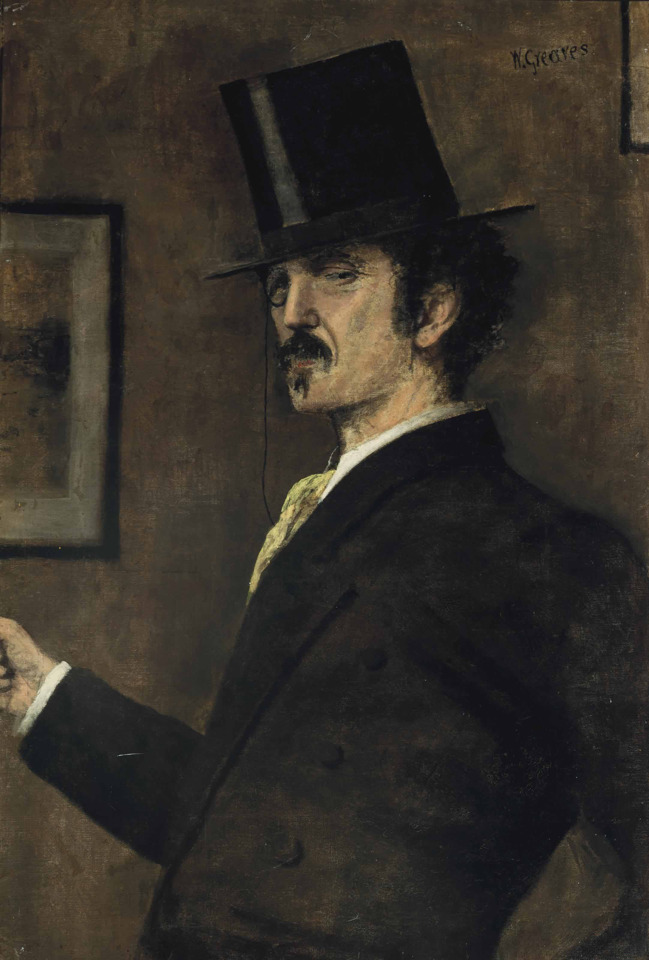 Portrait of Whistler, half-length, with monocle and top hat