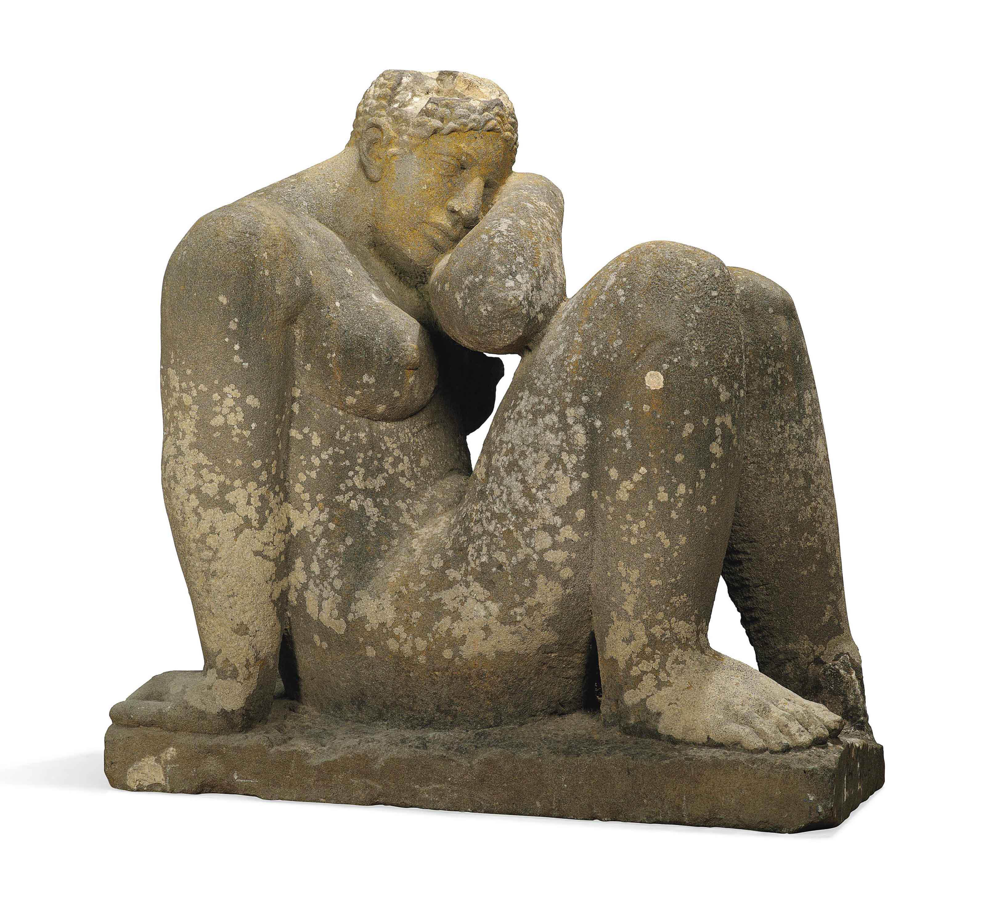 A carved stone seated female figure early th century