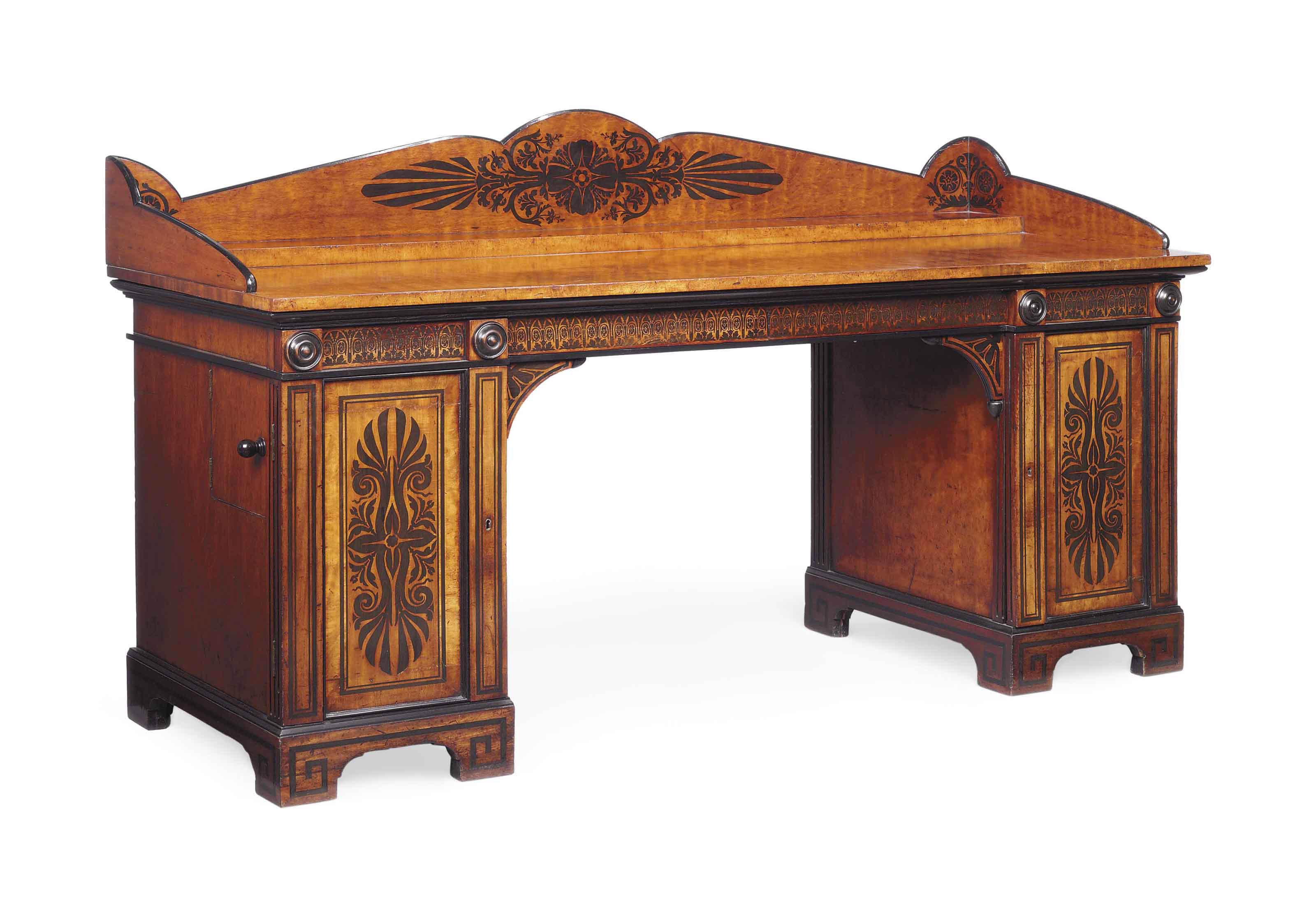 A REGENCY EBONY INLAID MAHOGANY AND FIDDLEBACK PEDESTAL SIDEBOARD