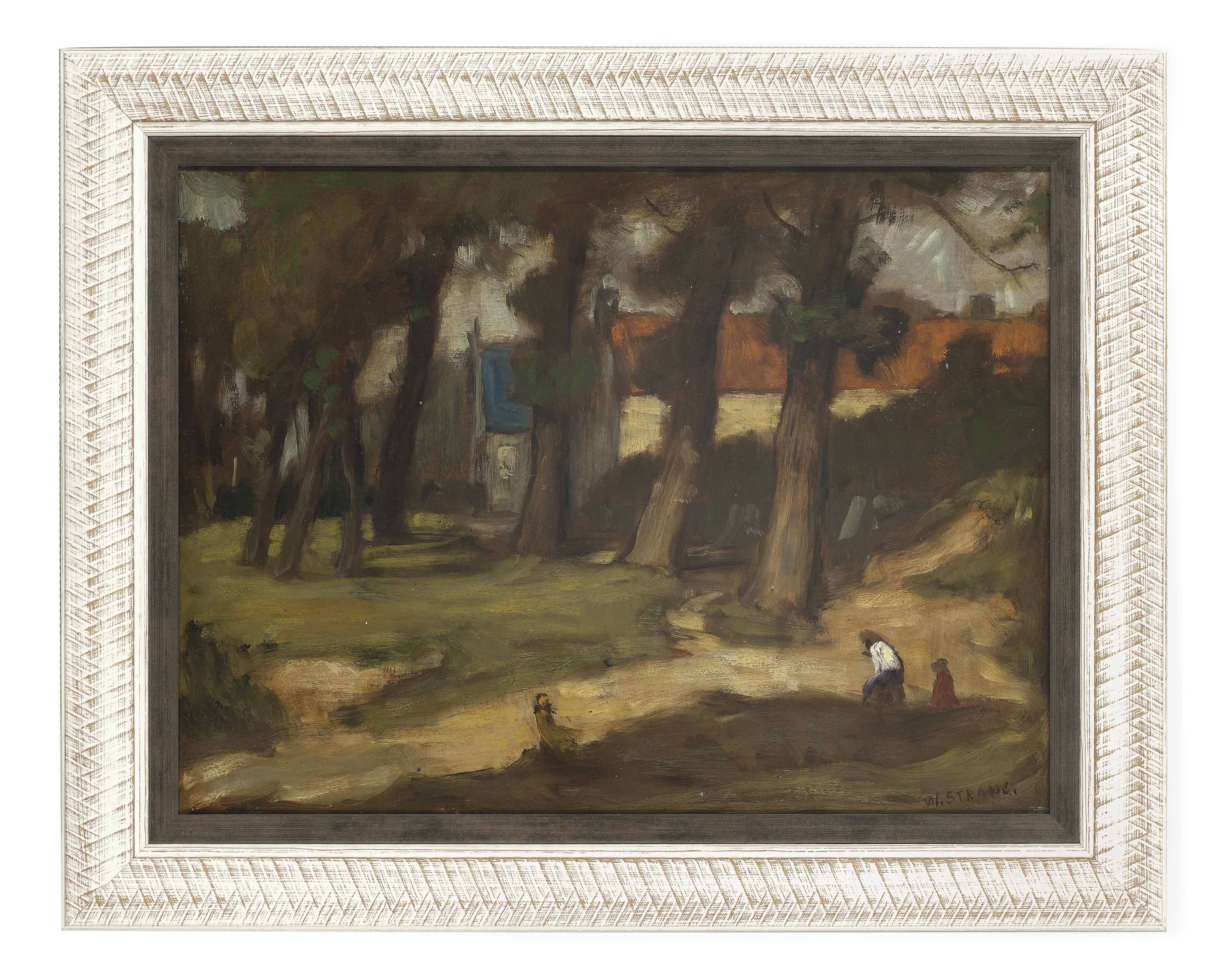 Figures in a woodland