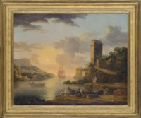 A capriccio with figures bringing in the catch at sunset