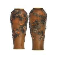 A Pair of Bronze Vases