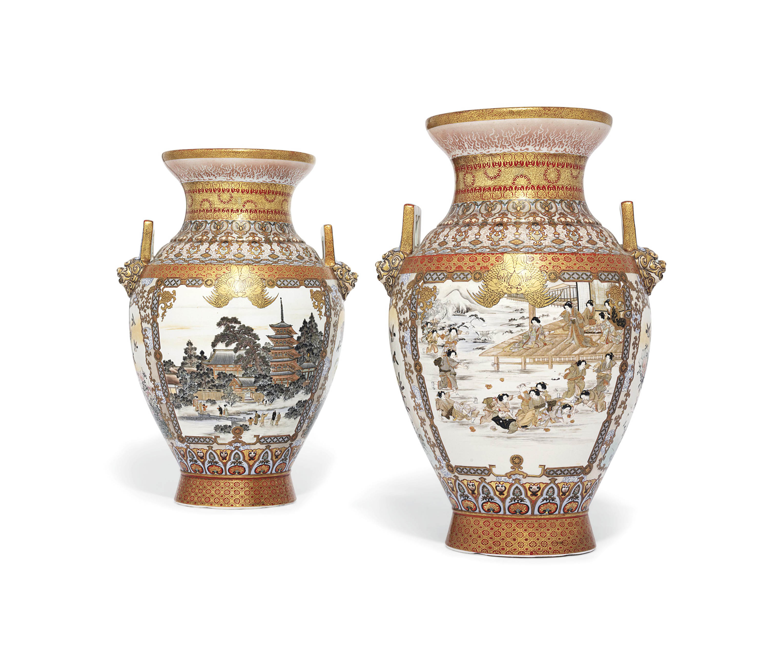 An Impressive Large Pair of Kutani Vases