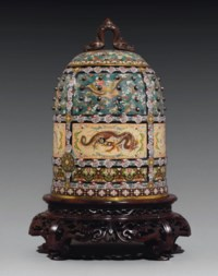 A Fine and Rare Cloisonné Vessel and Cover in the form of a Temple Bell