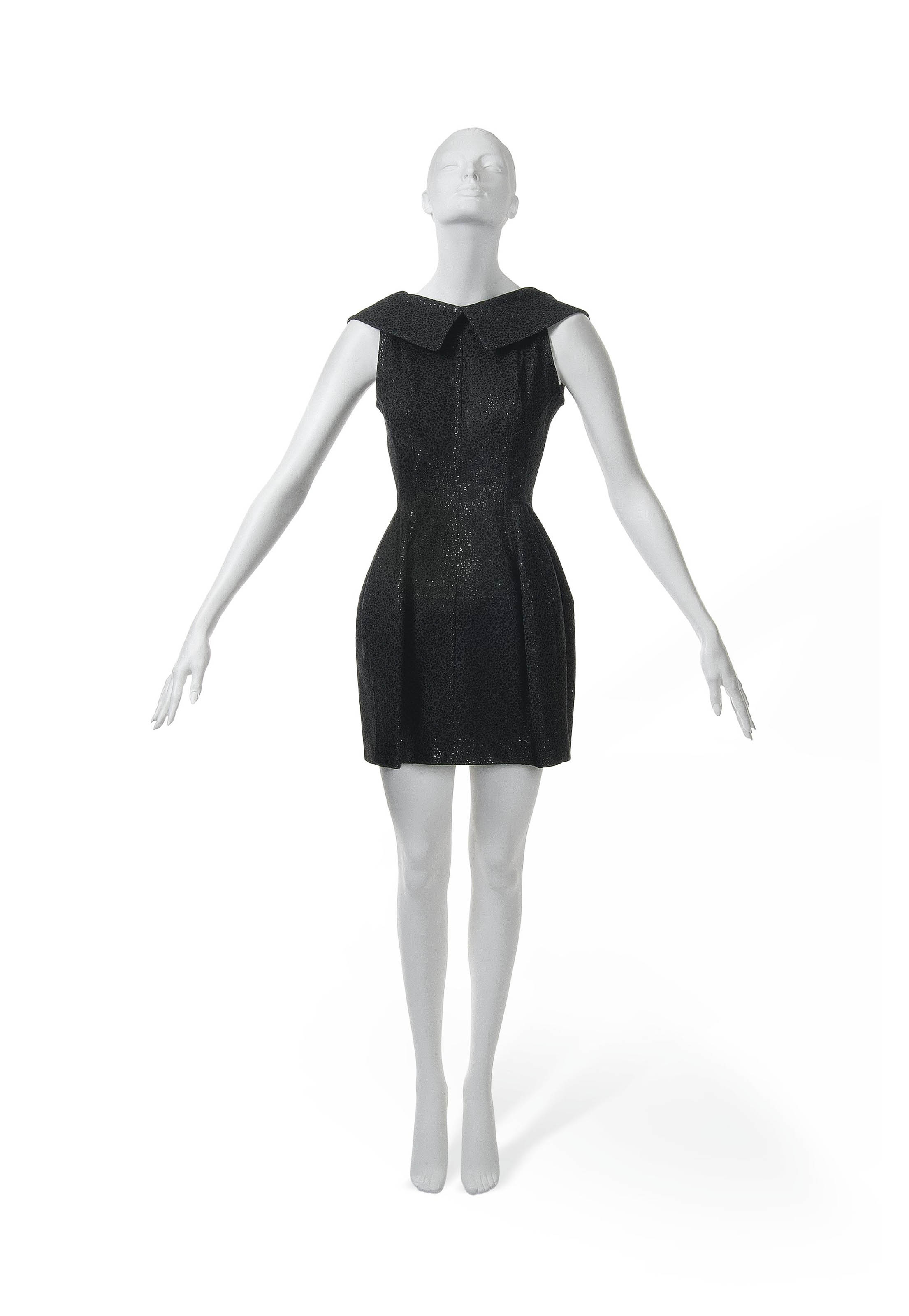 A CHARCOAL COTTON LASER CUT DRESS