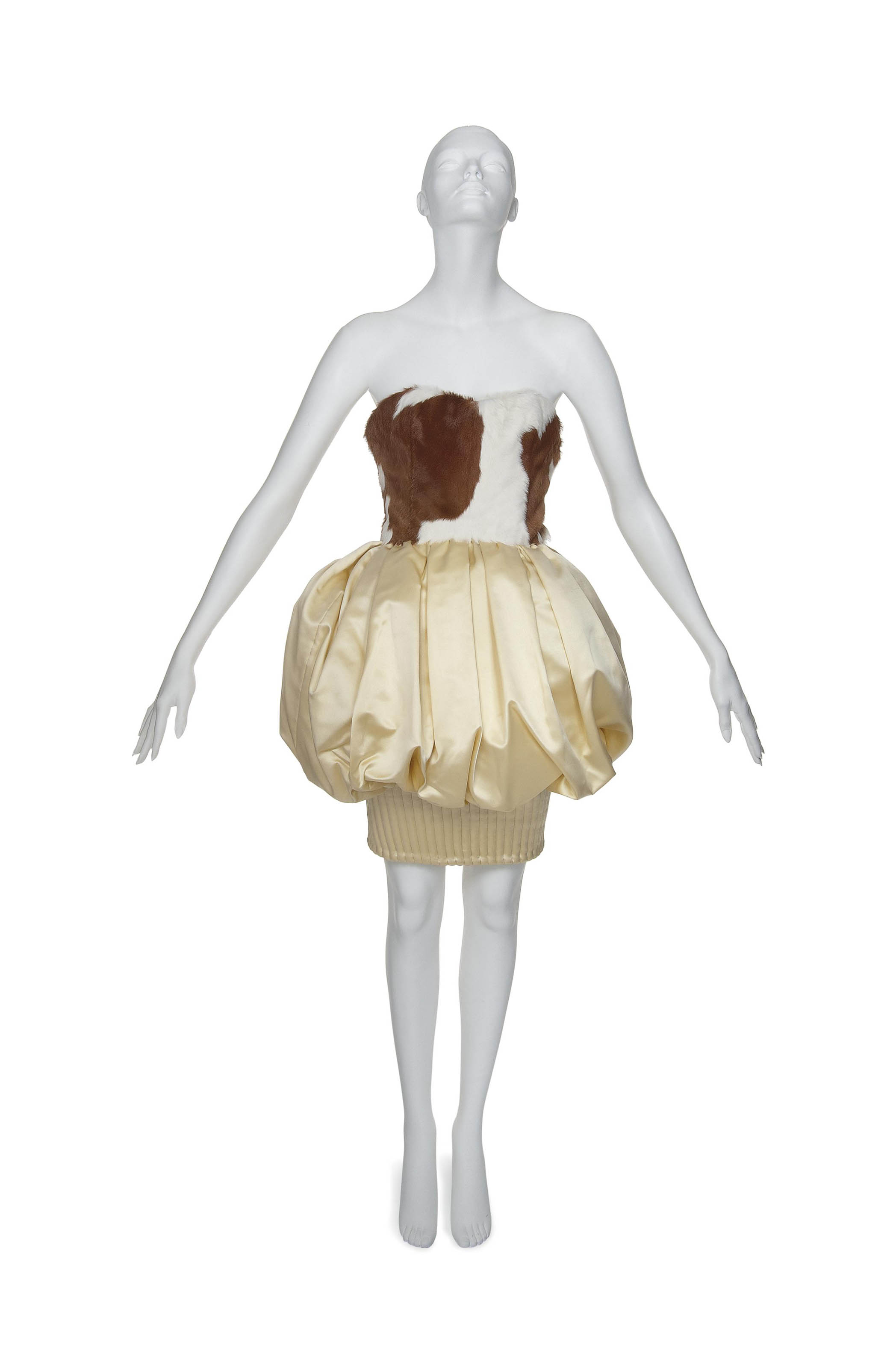 A LEMON YELLOW SATIN AND HIDE BUBBLE DRESS