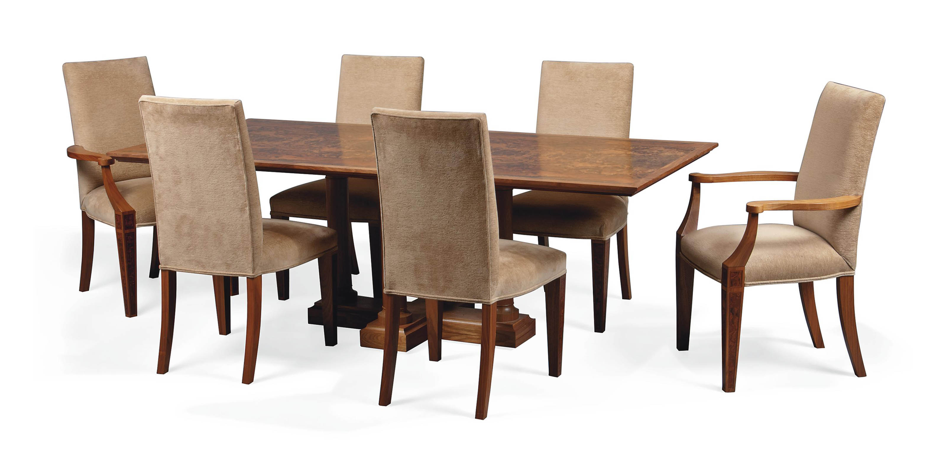 A DAVID LINLEY WALNUT AND BURR-WALNUT DINING TABLE AND SIX CHAIRS