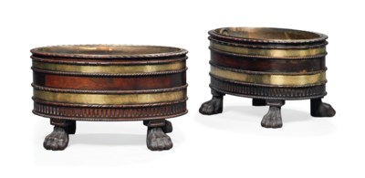 A PAIR OF BRASS MOUNTED MAHOGA