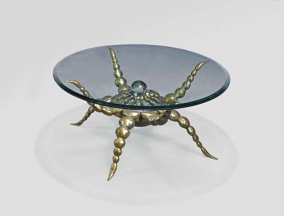 A MARK BRAZIER-JONES LIMITED EDITION PATINATED BRONZE, STEEL AND GLASS 'OCTOPUS' OCCASIONAL TABLE
