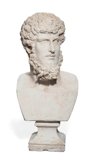 A LARGE PLASTER BUST OF LUCIUS