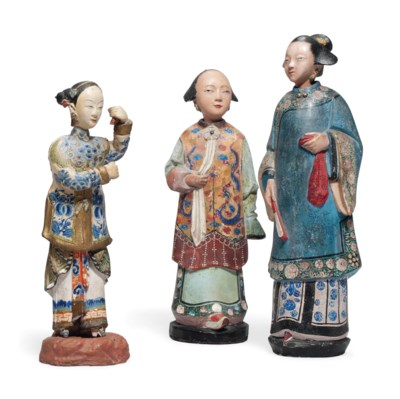 TWO CHINESE EXPORT POLYCHROME